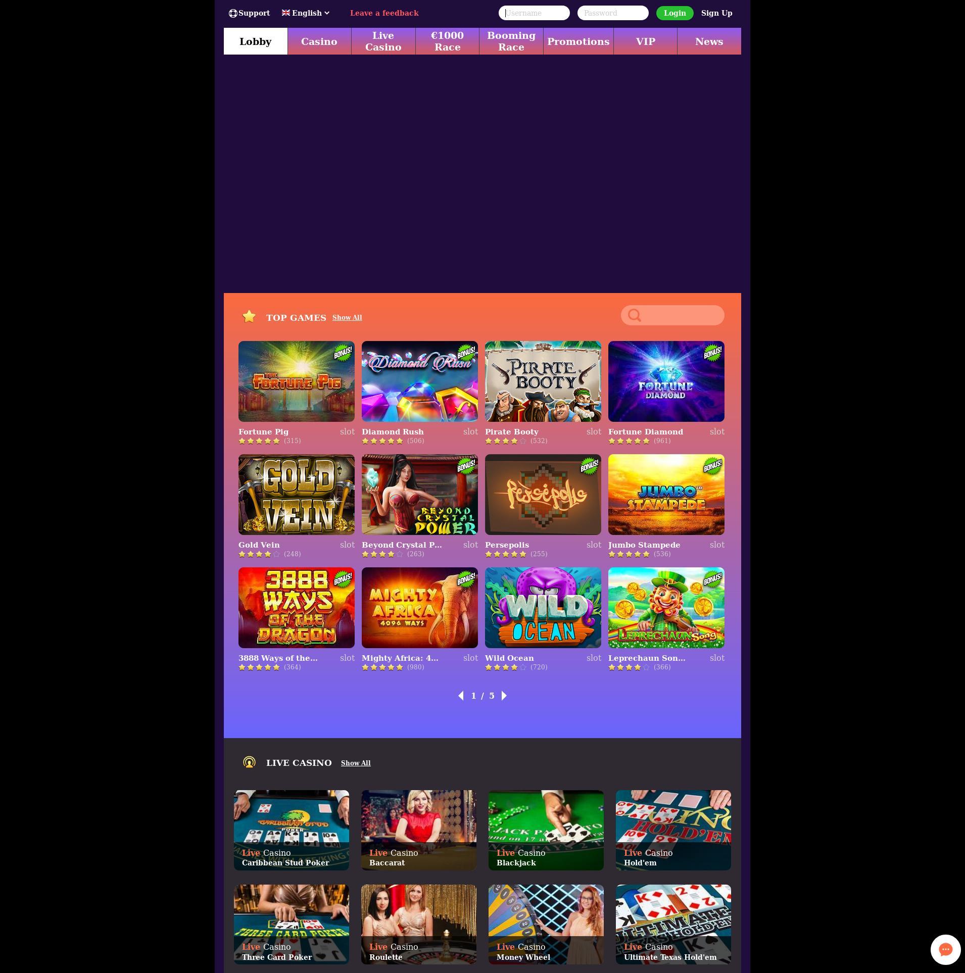 Casino skærm Lobby 2019-07-16 til Danmark