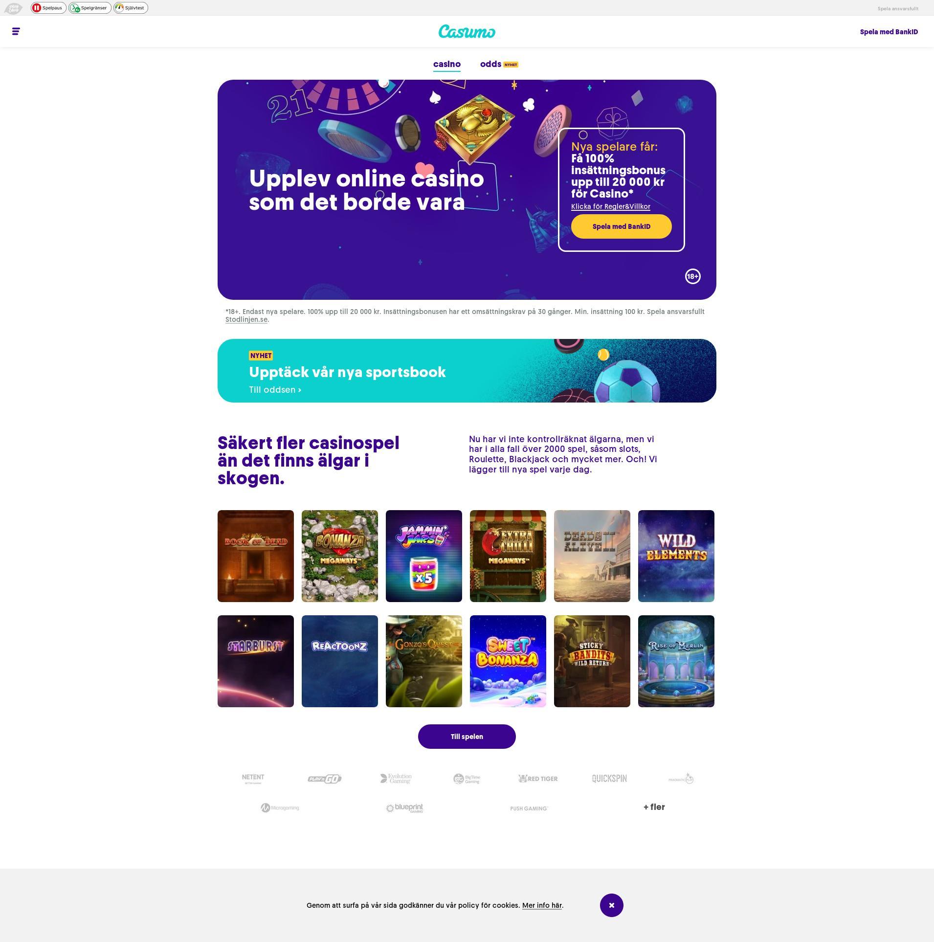 Casino screen Lobby 2019-12-07 for Sweden