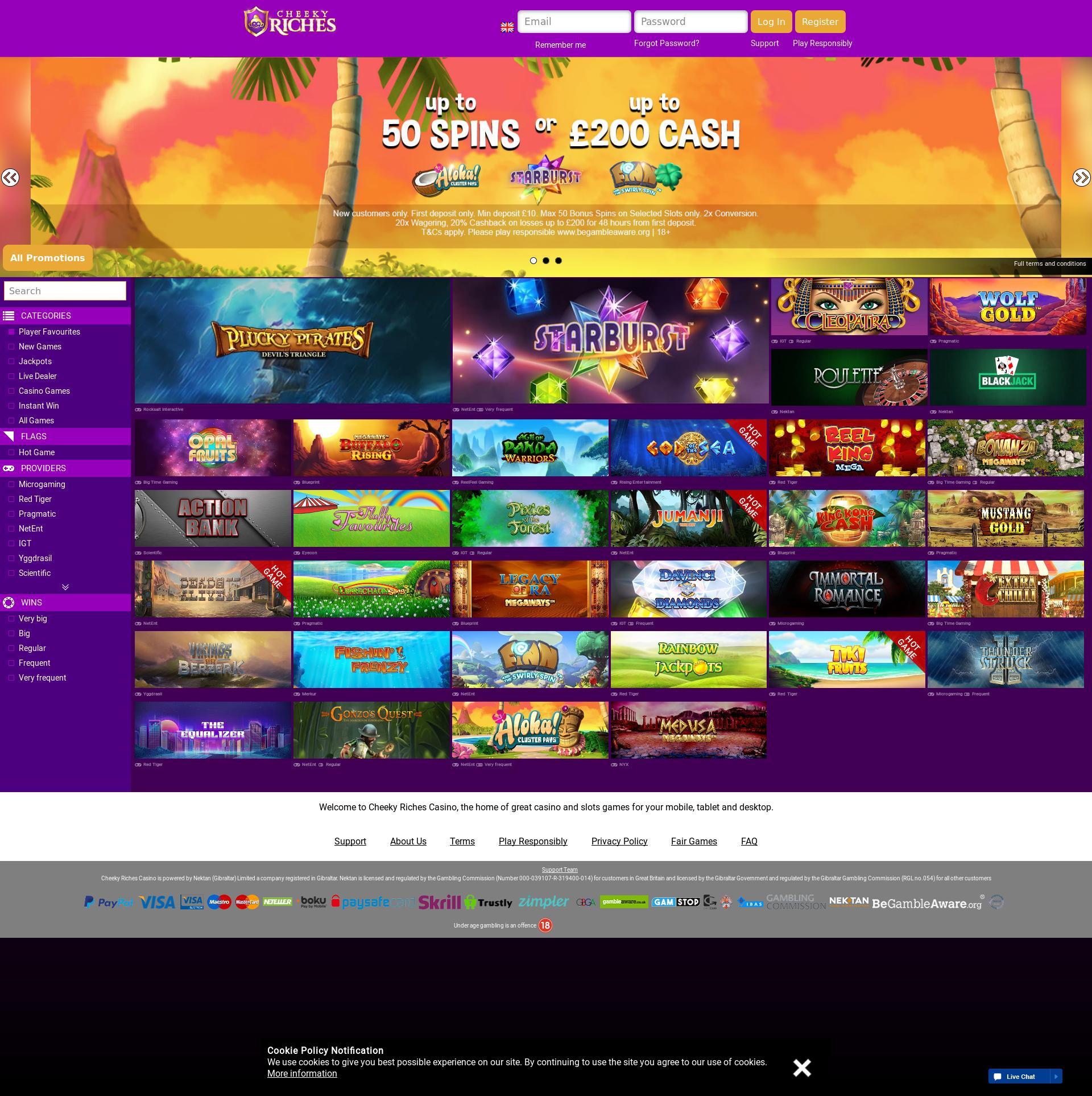 Casino screen Lobby 2019-06-14 for United Kingdom