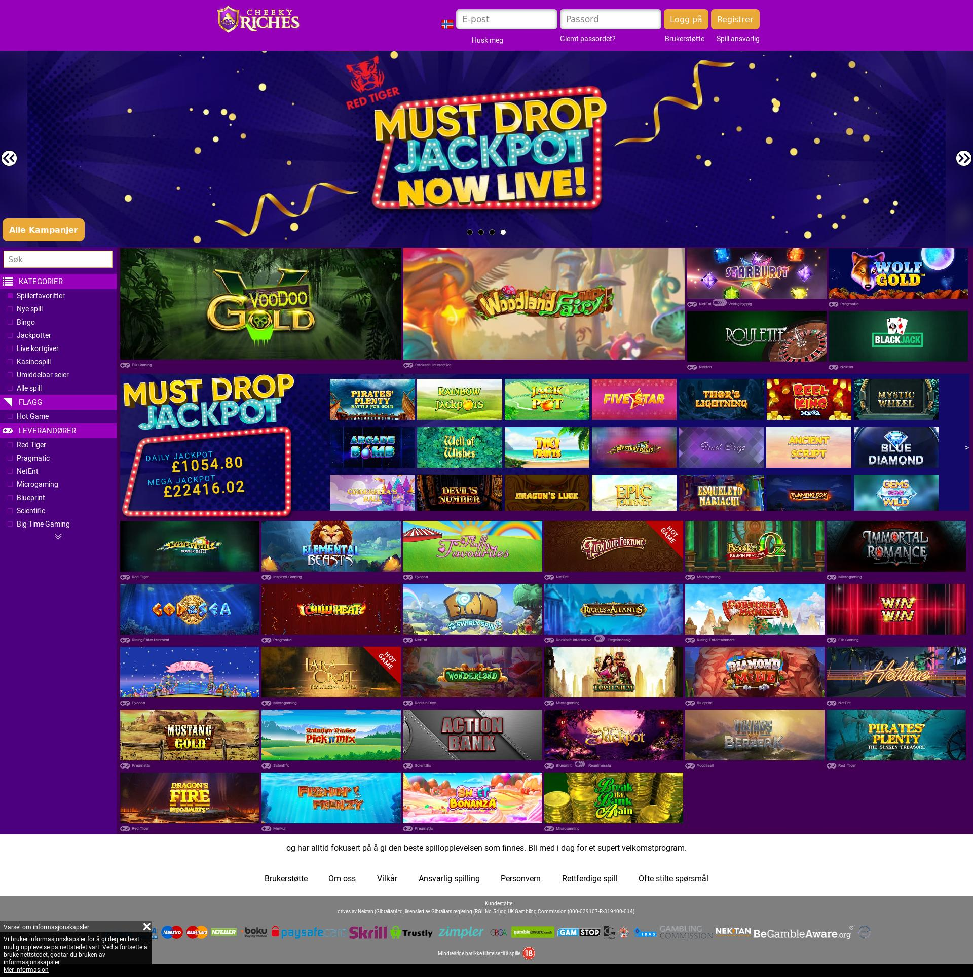 Casino screen Lobby 2019-10-21 for Norway