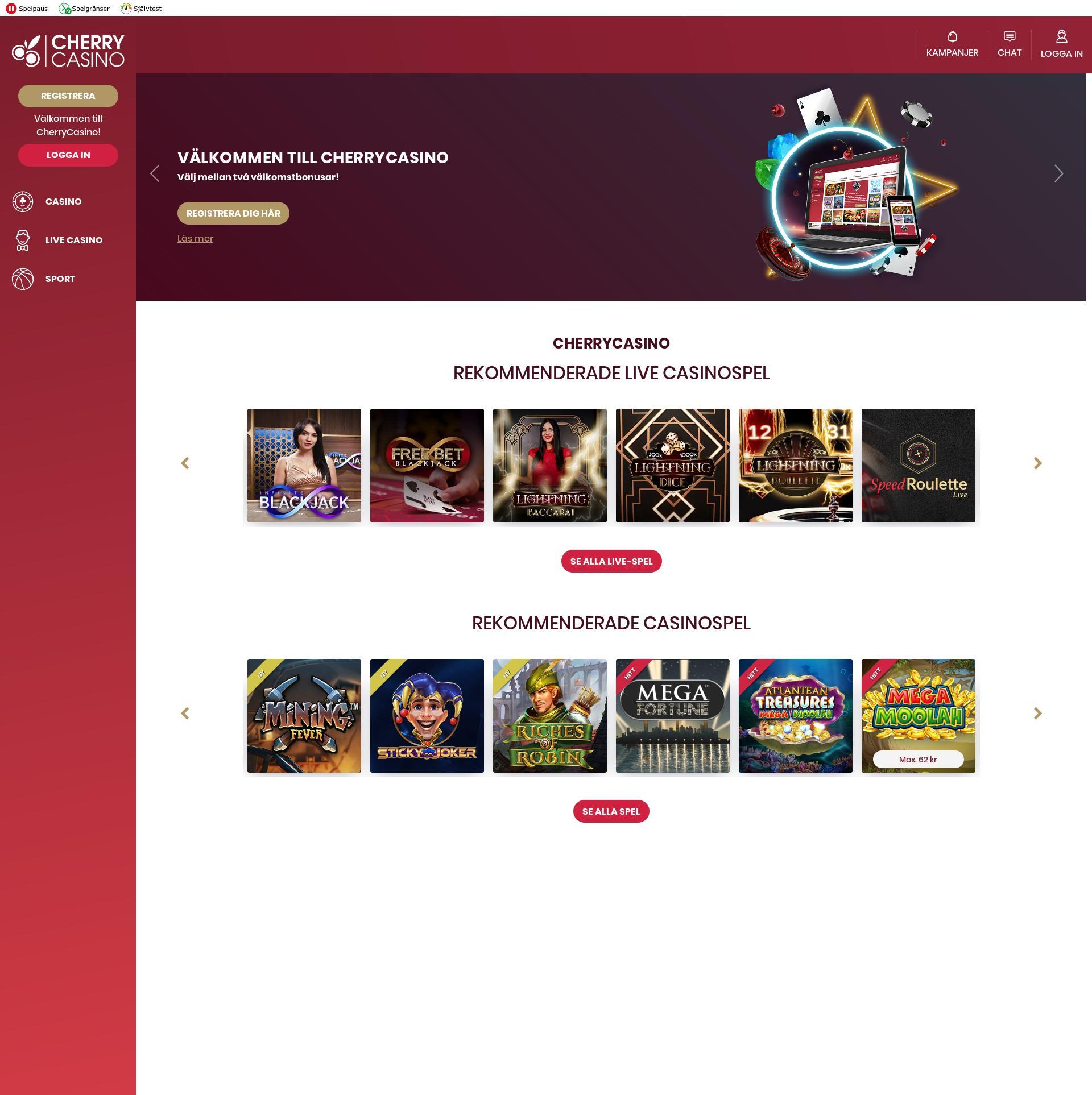 Casino skärm Lobby 2020-04-03 för Sverige