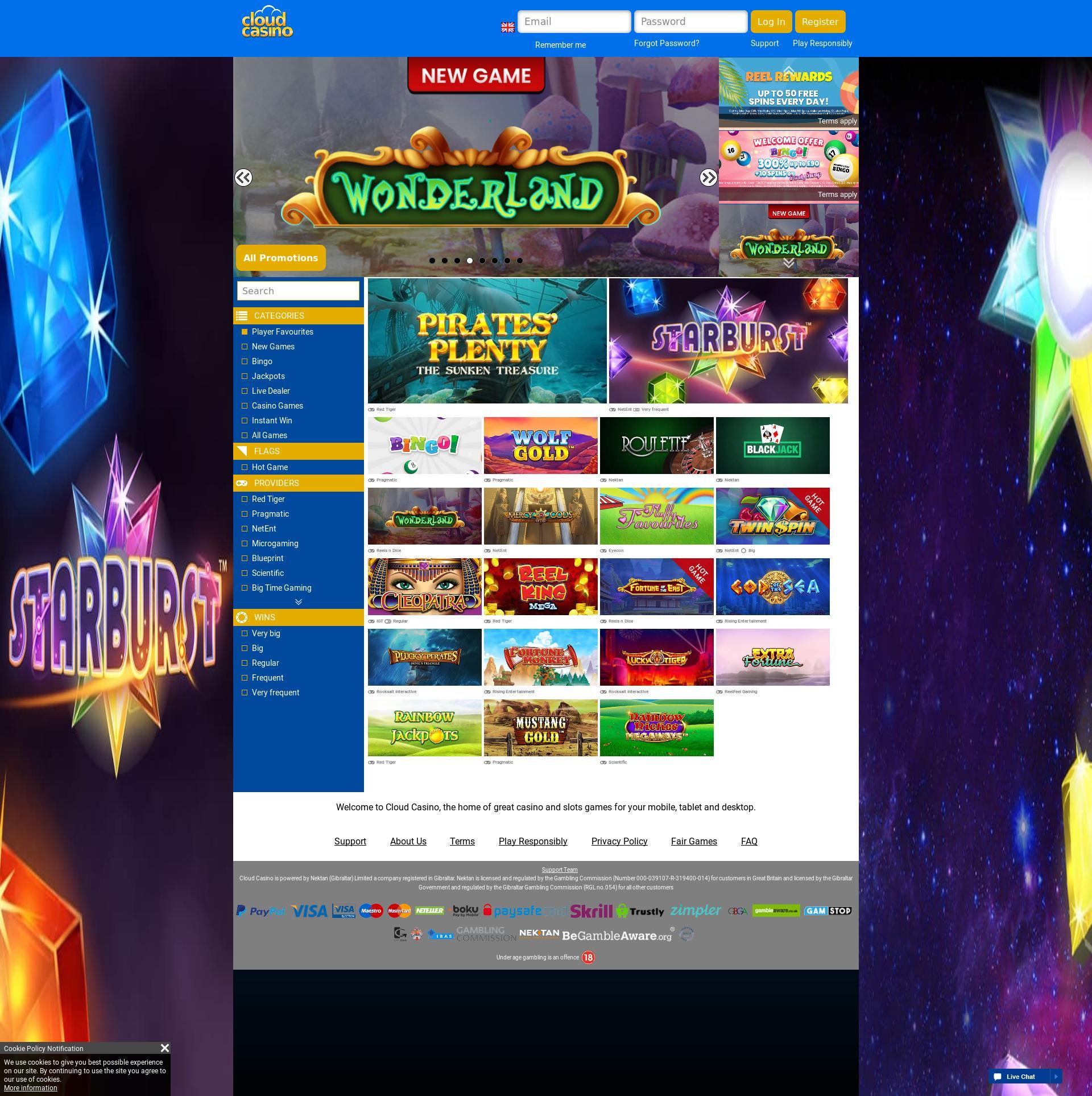 Casino screen Lobby 2019-08-16 for United Kingdom