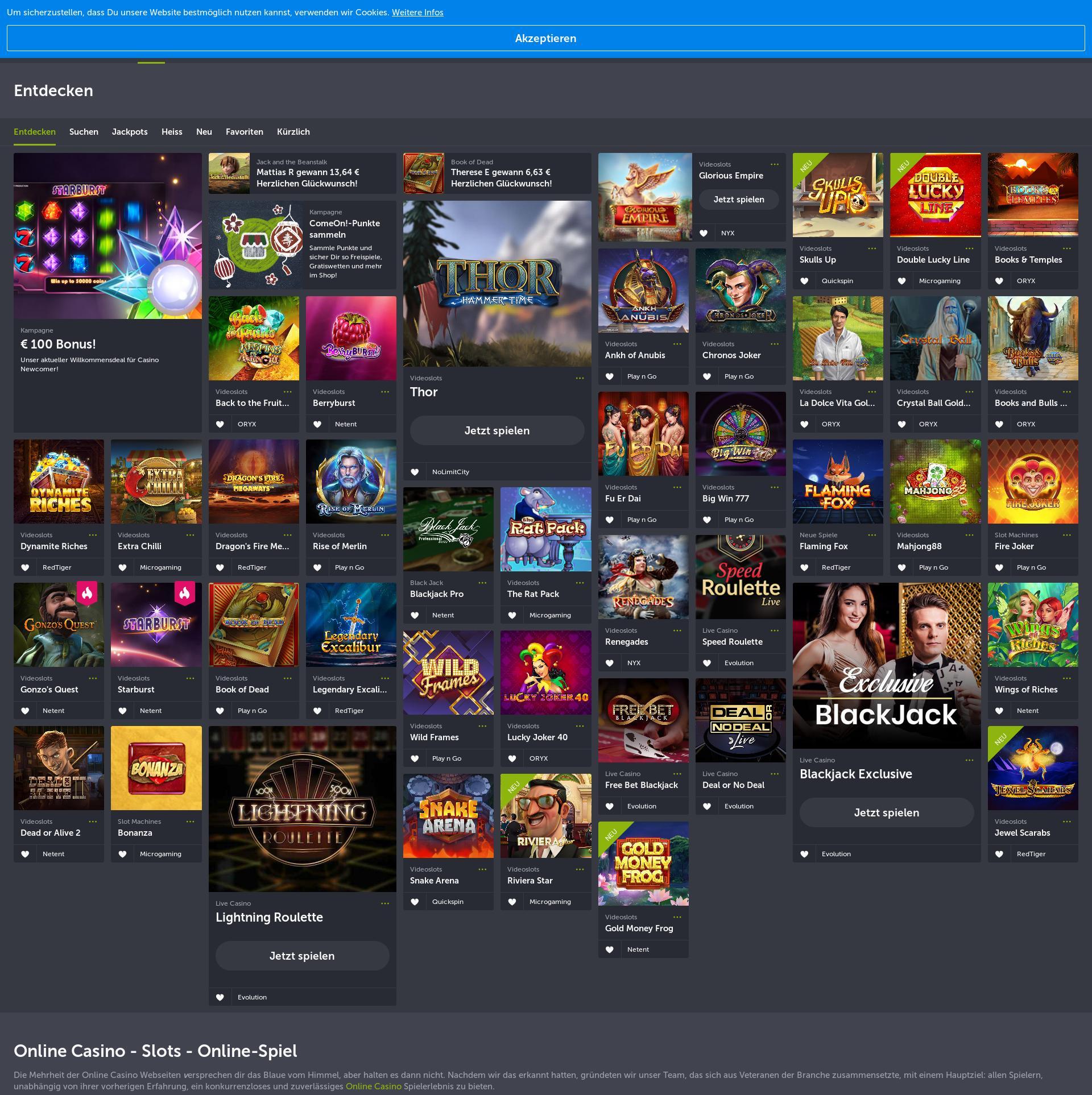 Casino skjerm Lobby 2020-01-20 til Tyskland