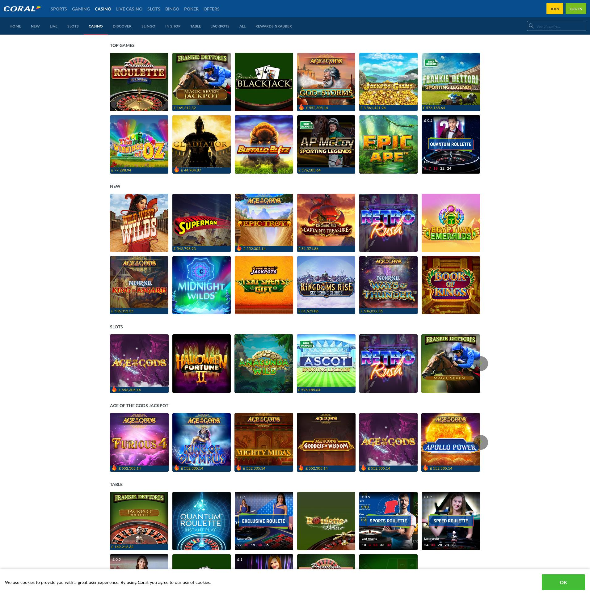 Casino screen Lobby 2020-05-25 for United Kingdom