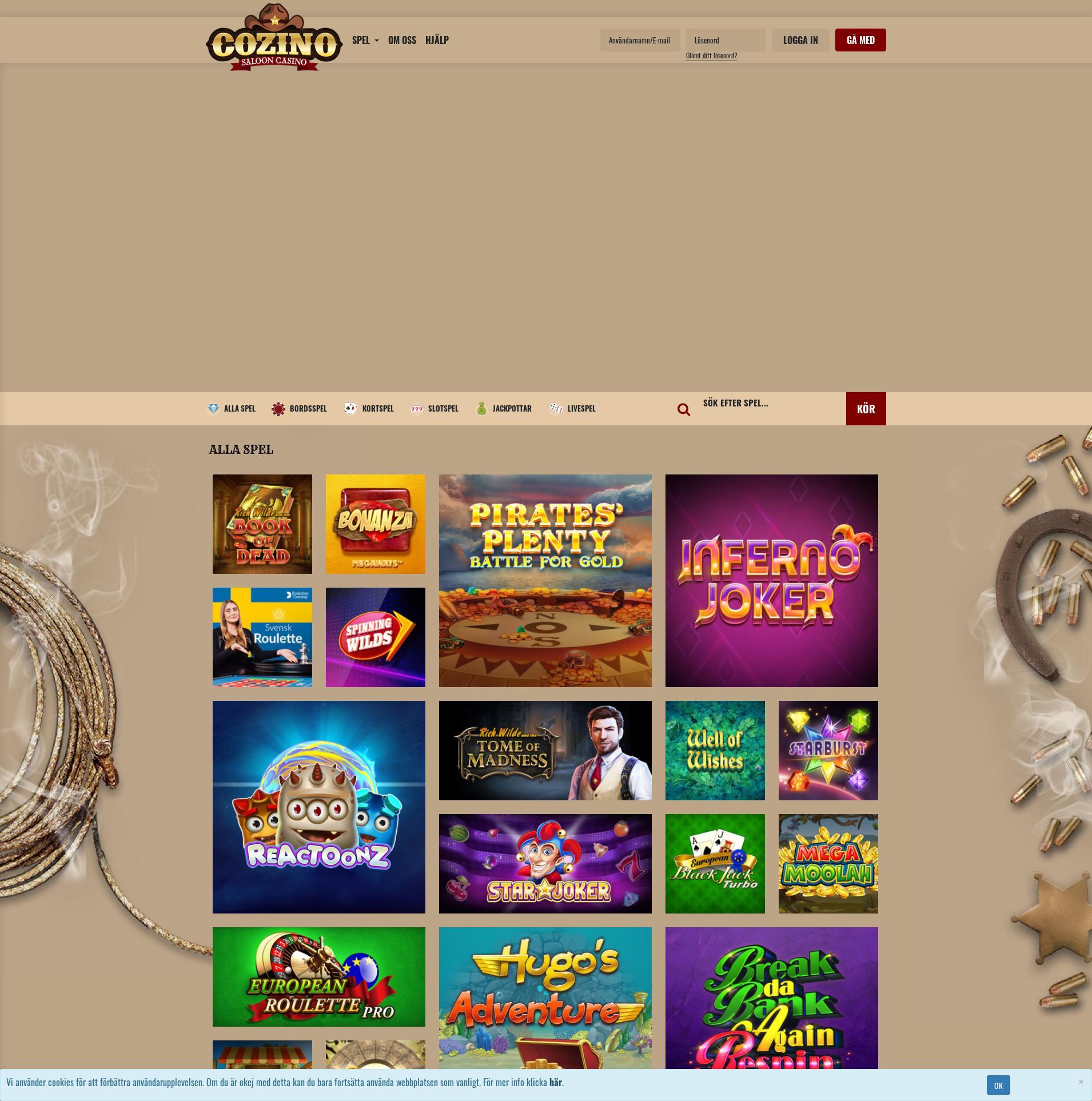 Casino screen Lobby 2019-09-19 for Sweden