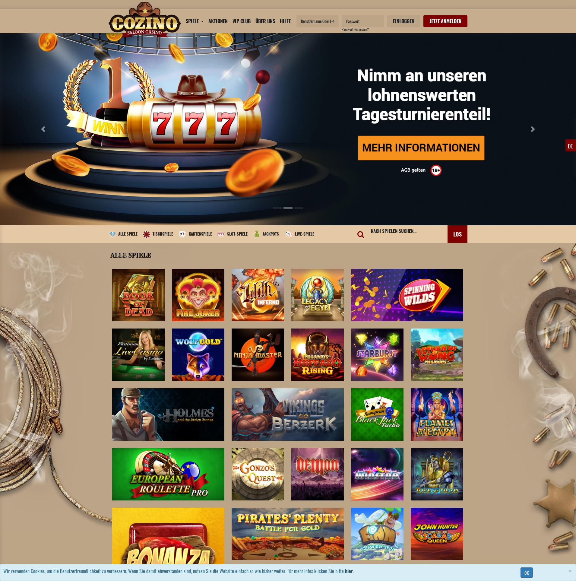 Casino screen Lobby 2019-10-21 for Germany