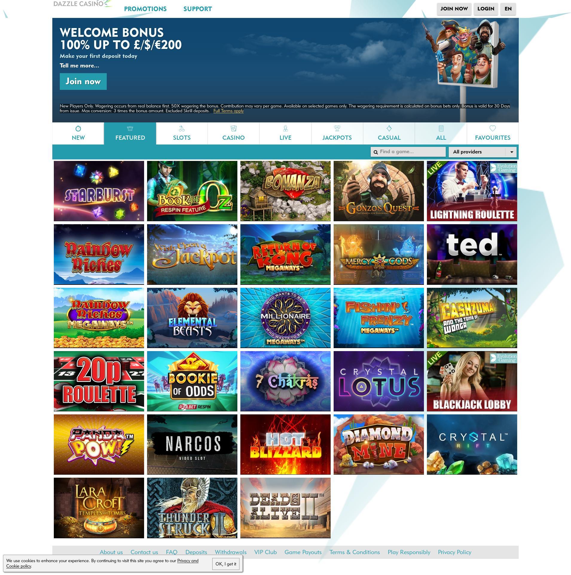 Casino screen Lobby 2019-10-19 for United Kingdom
