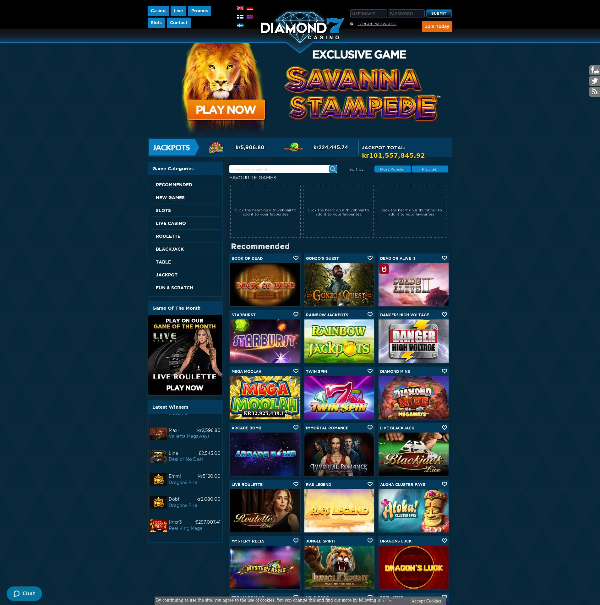 Casino screen Lobby 2019-07-17 for Sweden