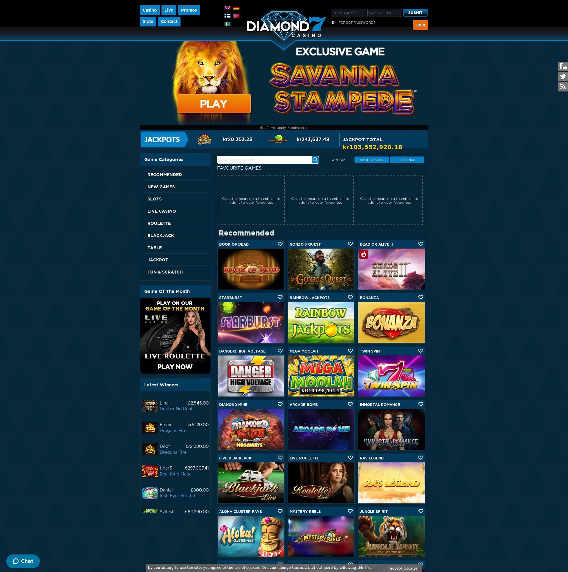 Casino skärm Lobby 2019-10-20 för Sverige