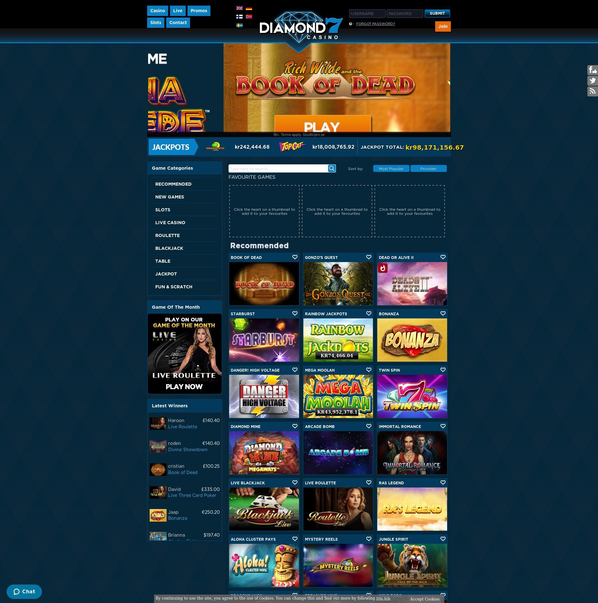 Casino skärm Lobby 2020-01-17 för Sverige