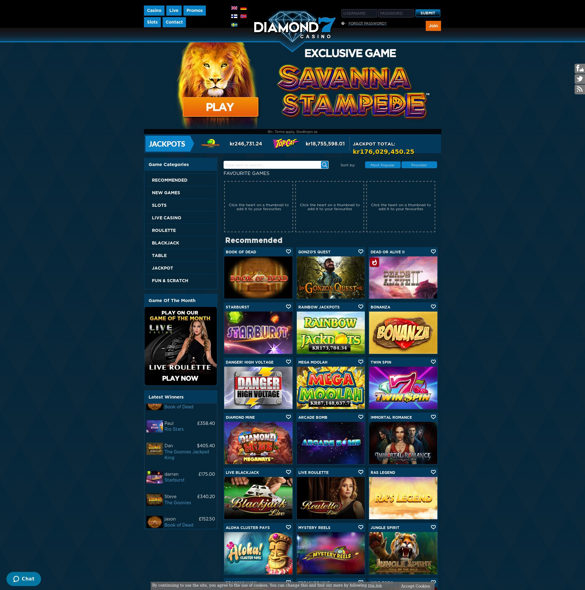 Casino screen Lobby 2020-02-21 for Sweden