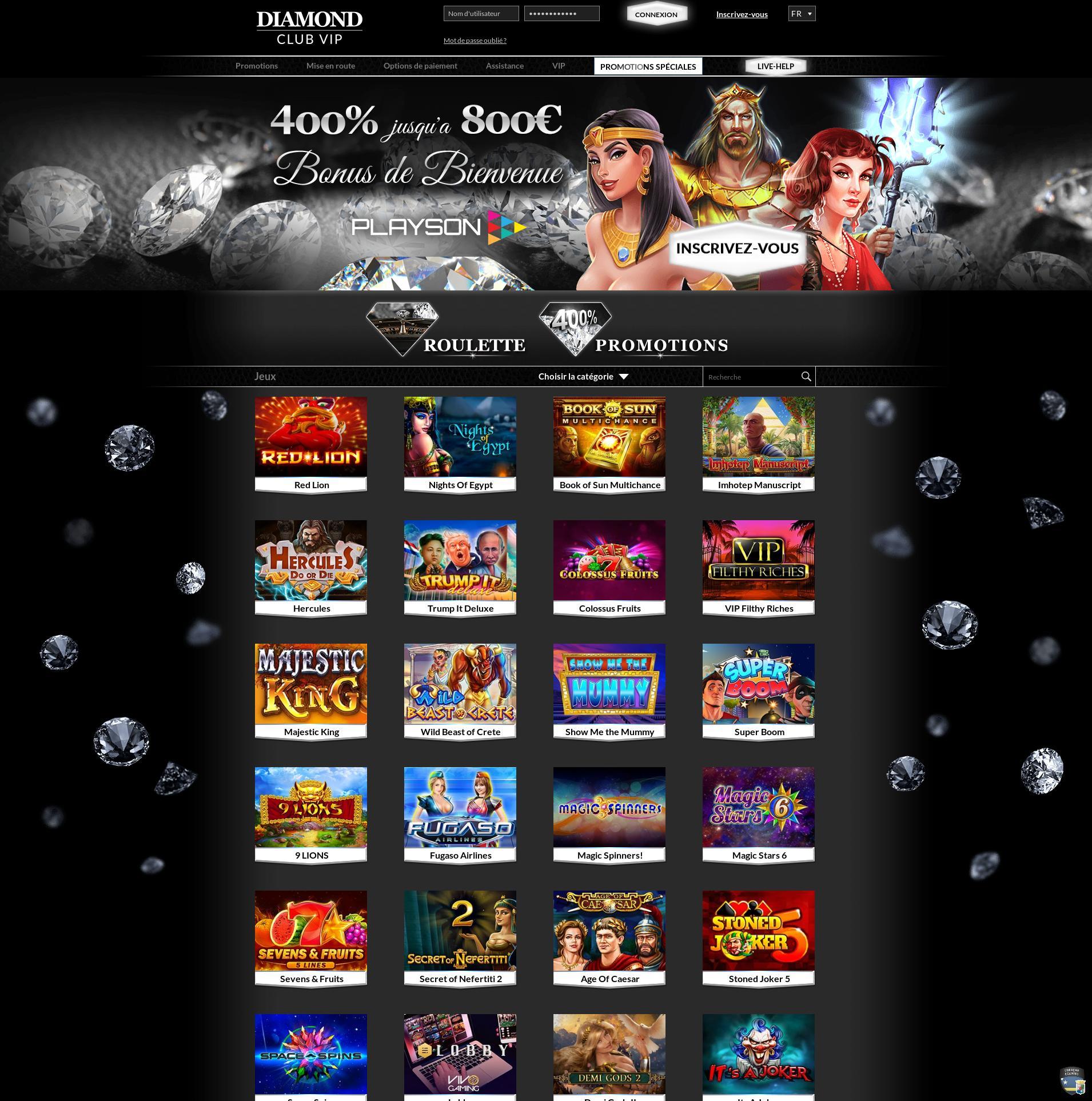 Écran de casino Lobby 2020-01-20 pour France