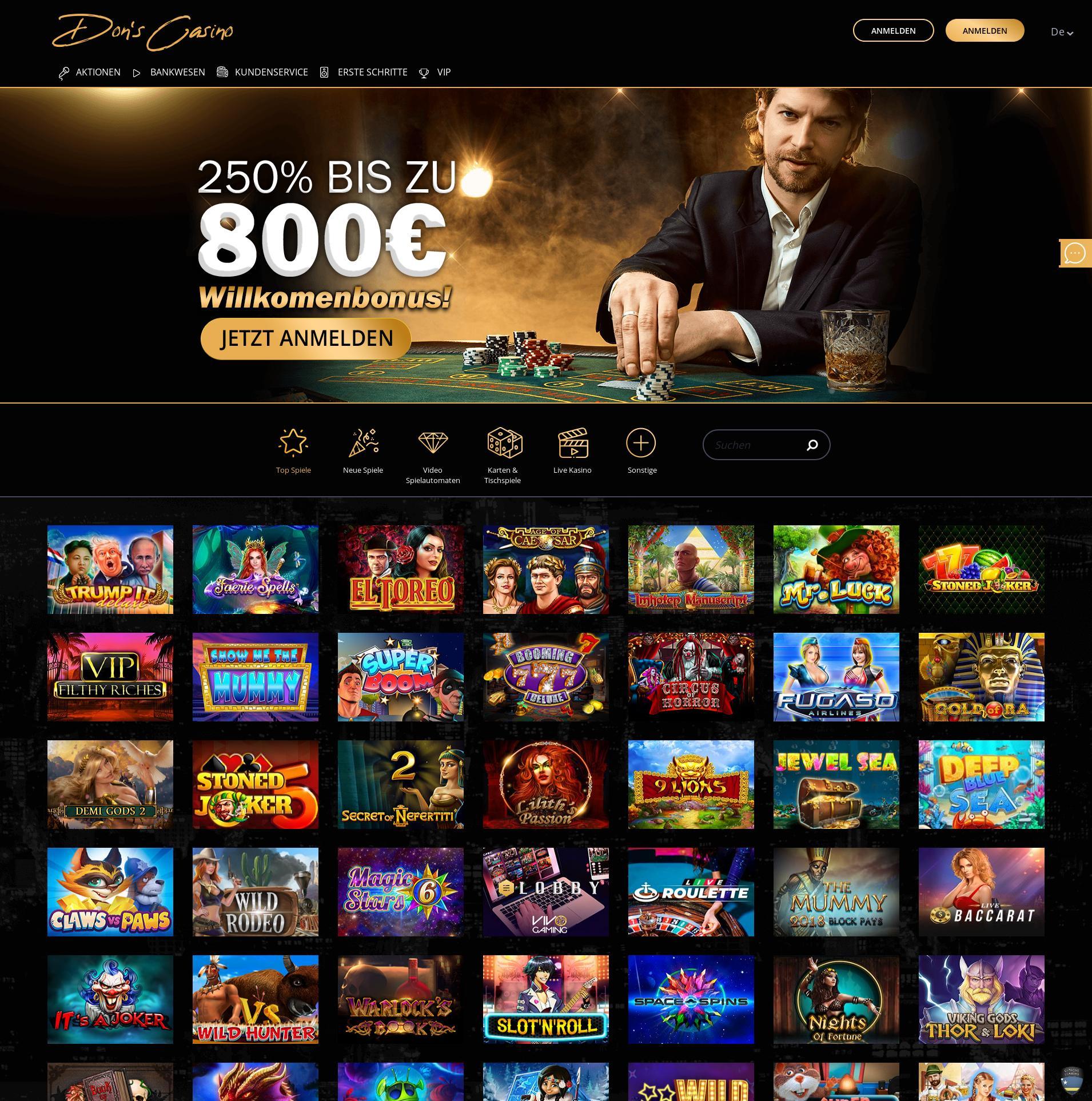Casino screen Lobby 2019-07-17 for Germany
