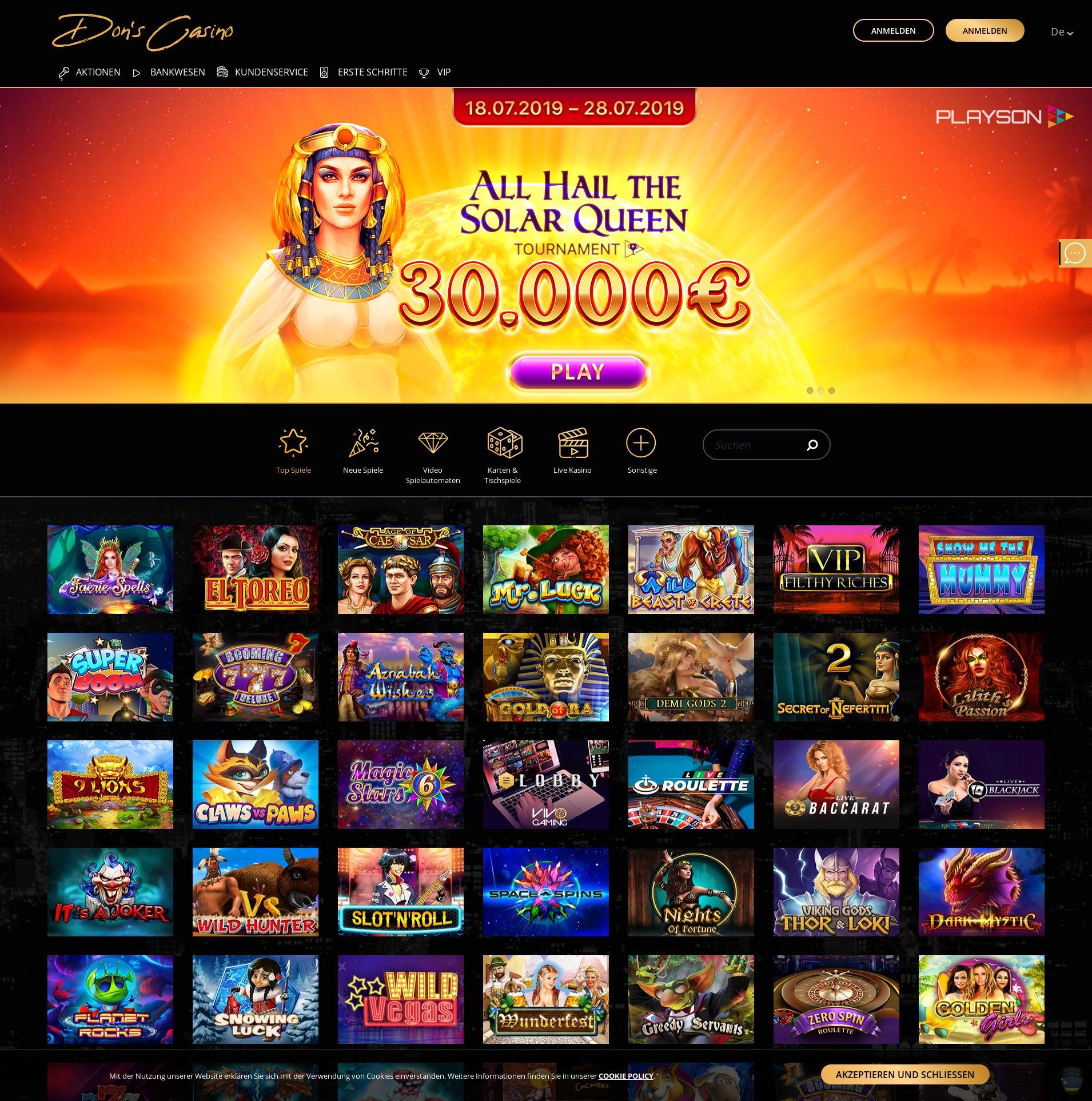 Casino screen Lobby 2019-10-19 for Germany