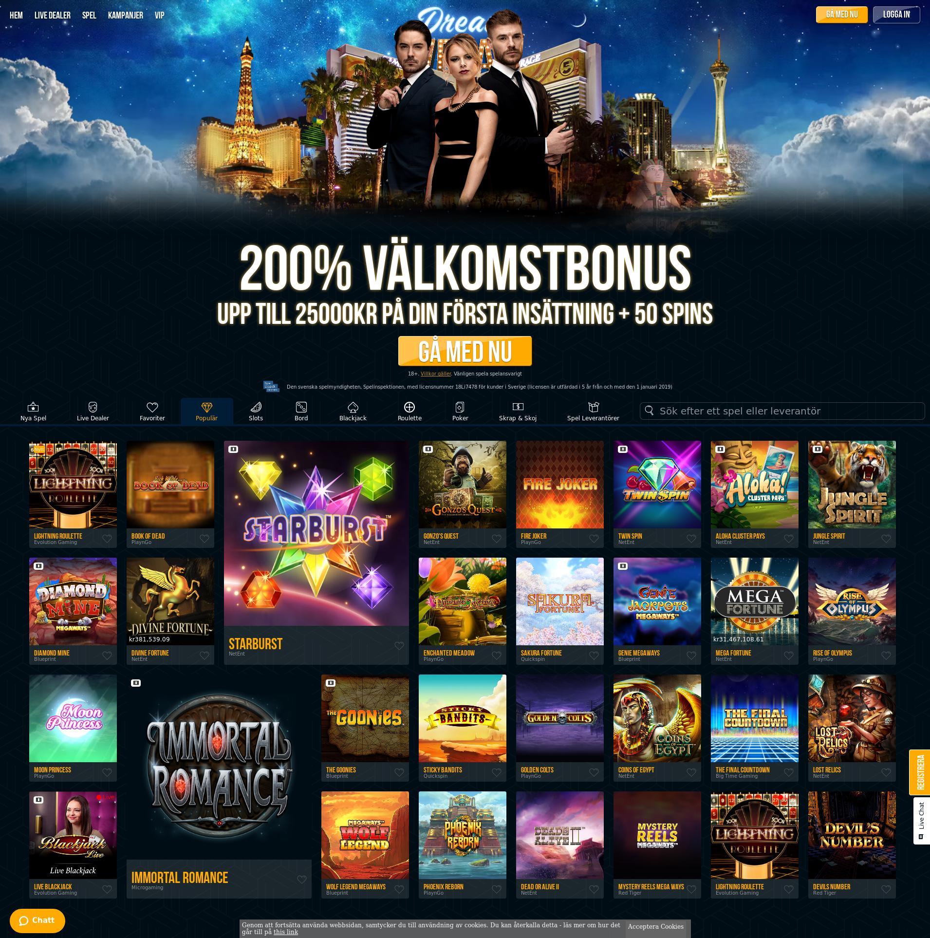 Casino screen Lobby 2019-07-21 for Sweden