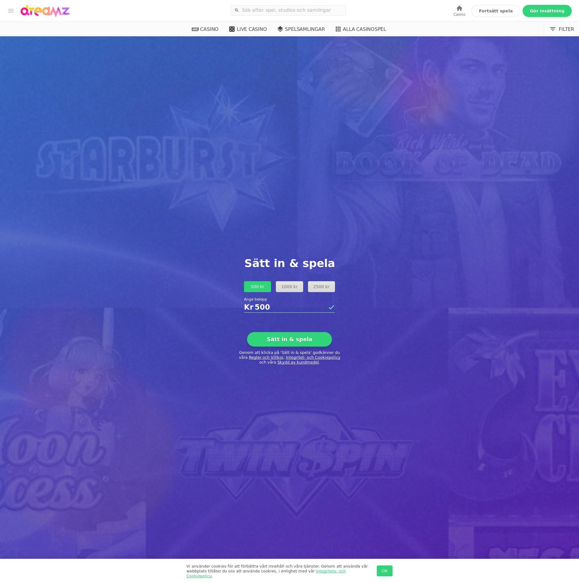 Casino screen Lobby 2020-05-28 for Sweden
