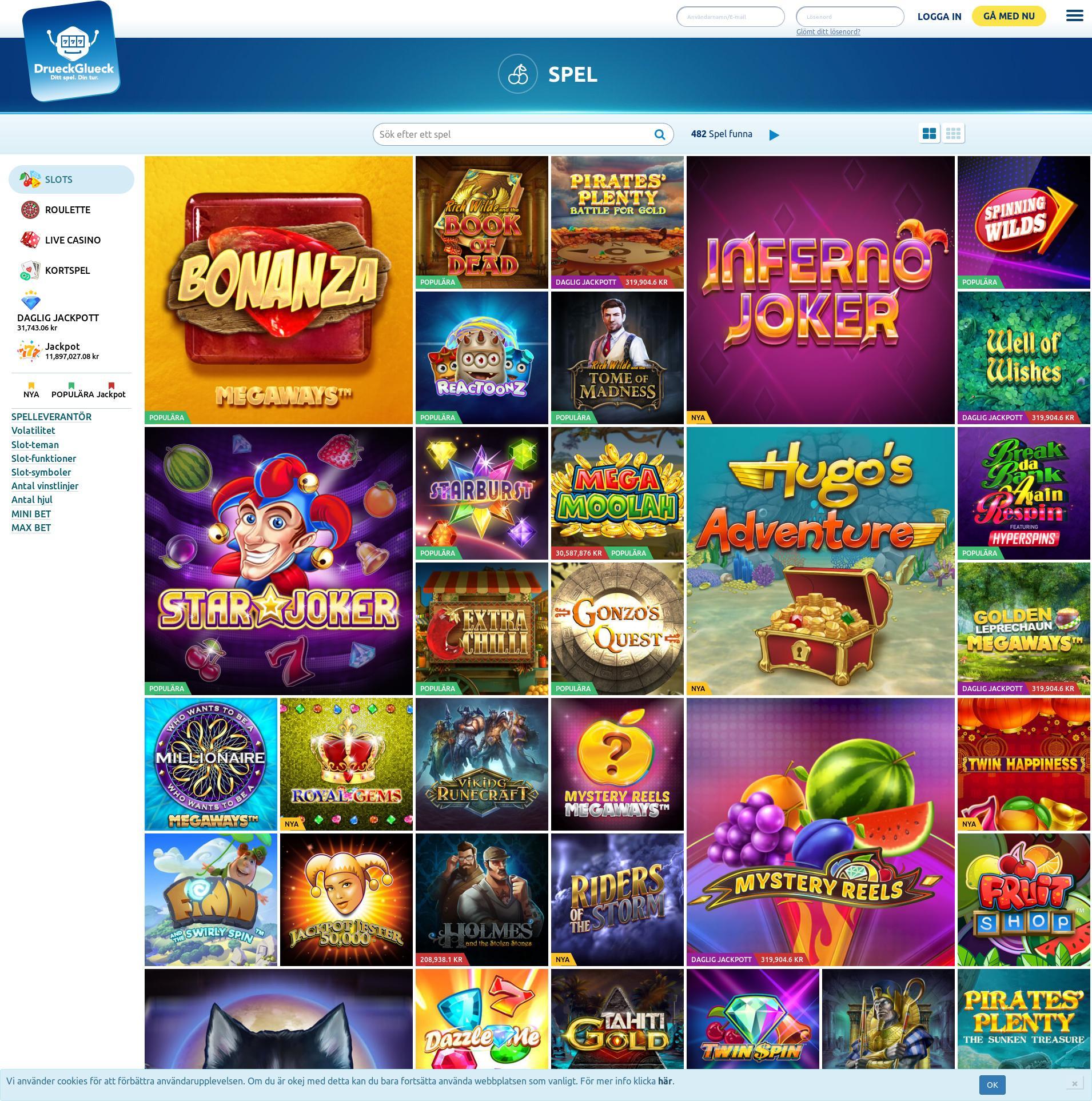 Casino skärm Lobby 2019-09-18 för Sverige