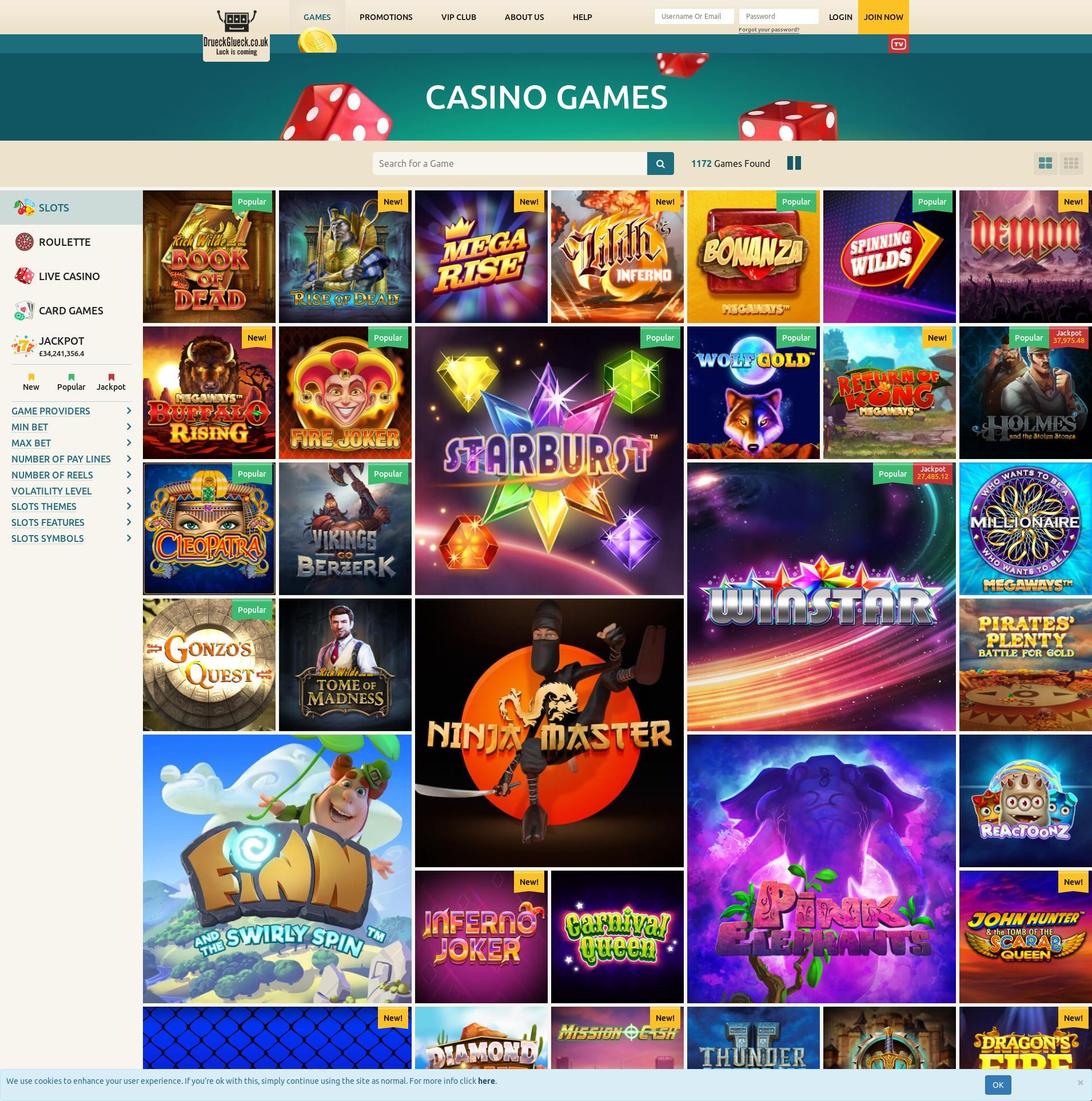 Casino screen Lobby 2019-10-15 for United Kingdom
