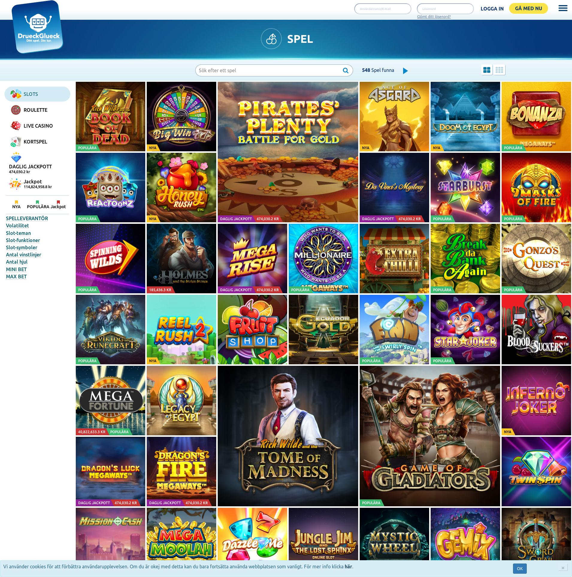 Casino screen Lobby 2019-11-14 for Sweden