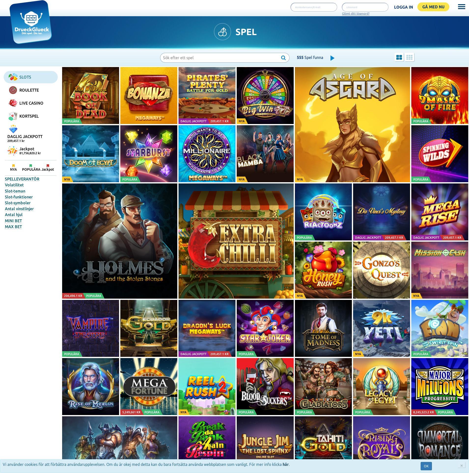 Casino skärm Lobby 2019-11-21 för Sverige