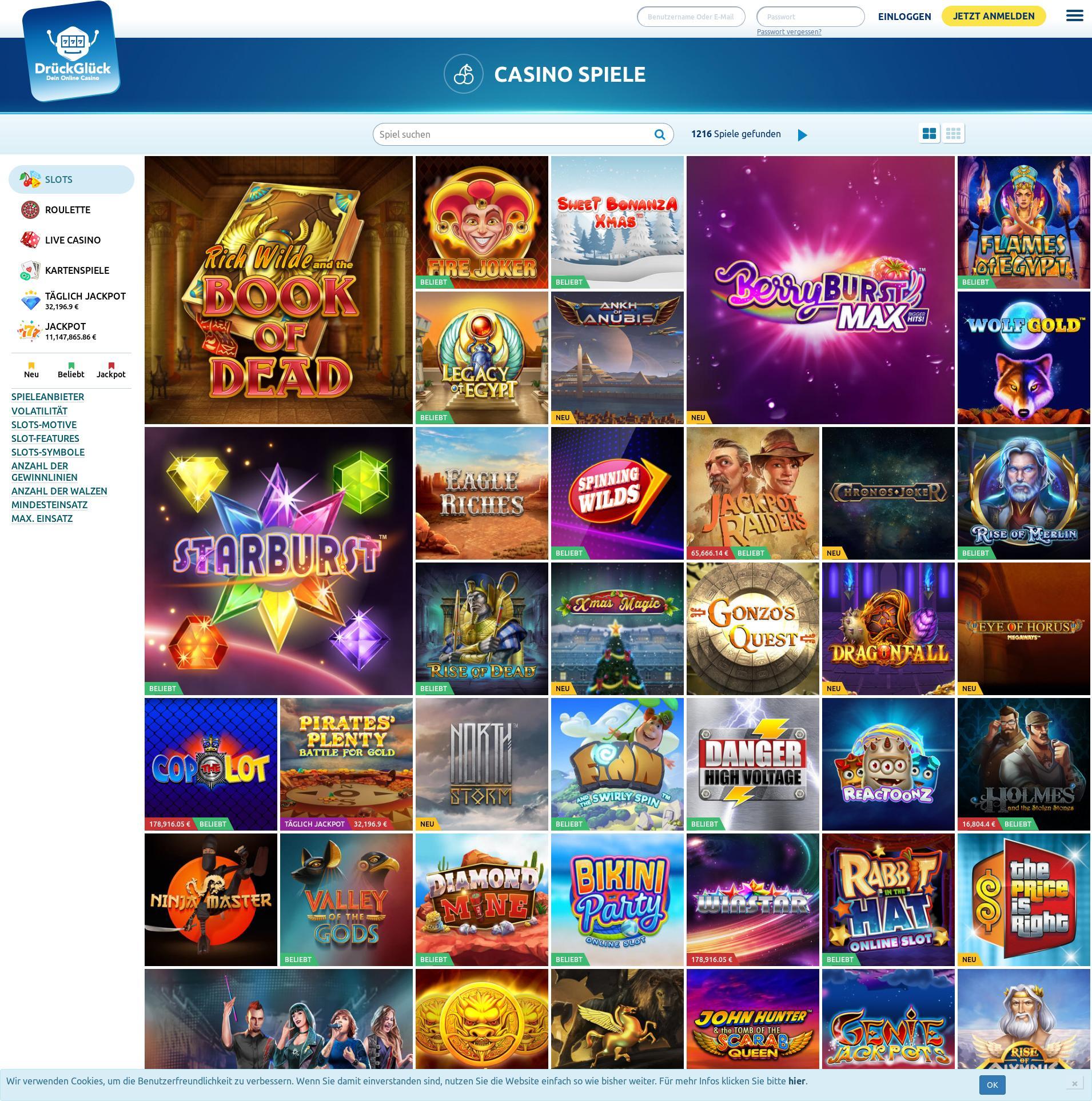 Casino Bildschirm Lobby 2019-12-13 zum Deutschland