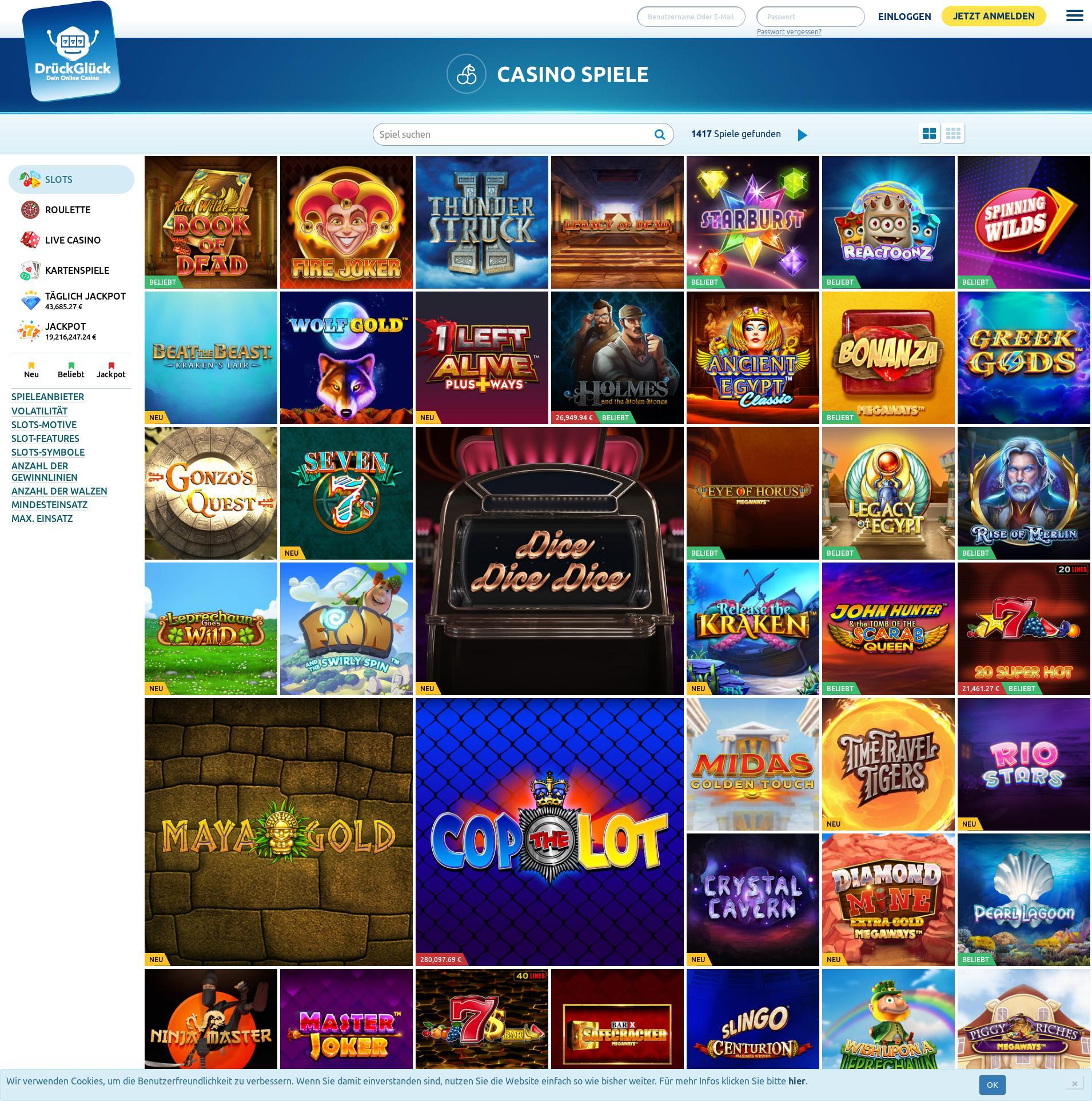 Casino Bildschirm Lobby 2020-02-25 zum Deutschland