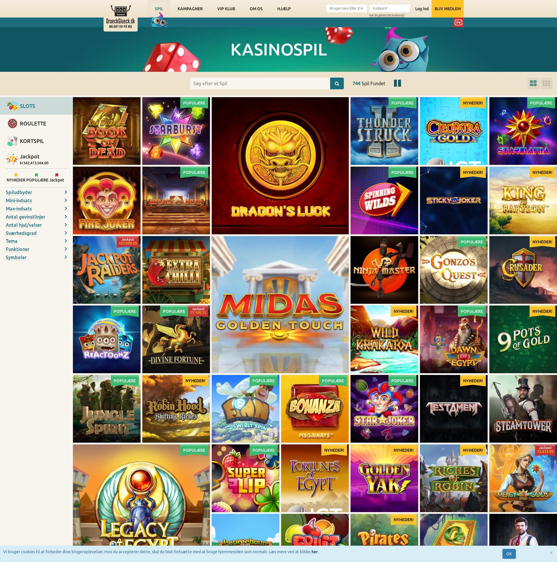 Casino skærm Lobby 2020-03-31 til Danmark