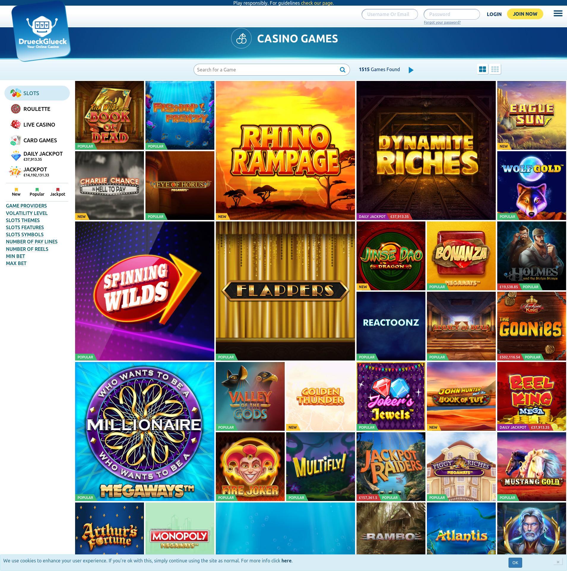 Casino Bildschirm Lobby 2020-06-05 zum Großbritannien