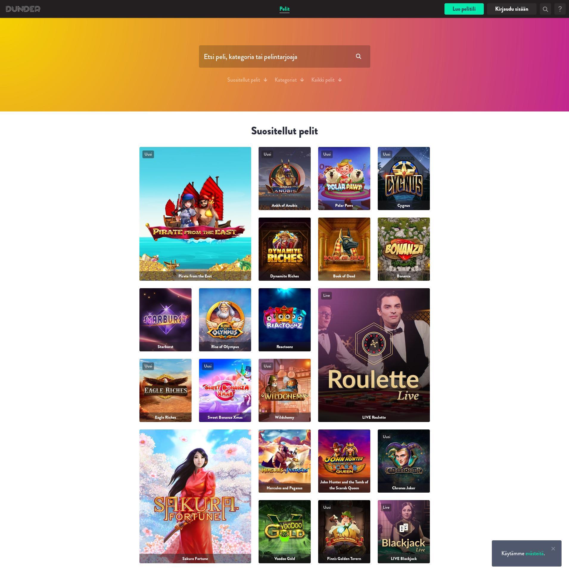 Casino scherm Lobby 2019-12-12 voor Finland