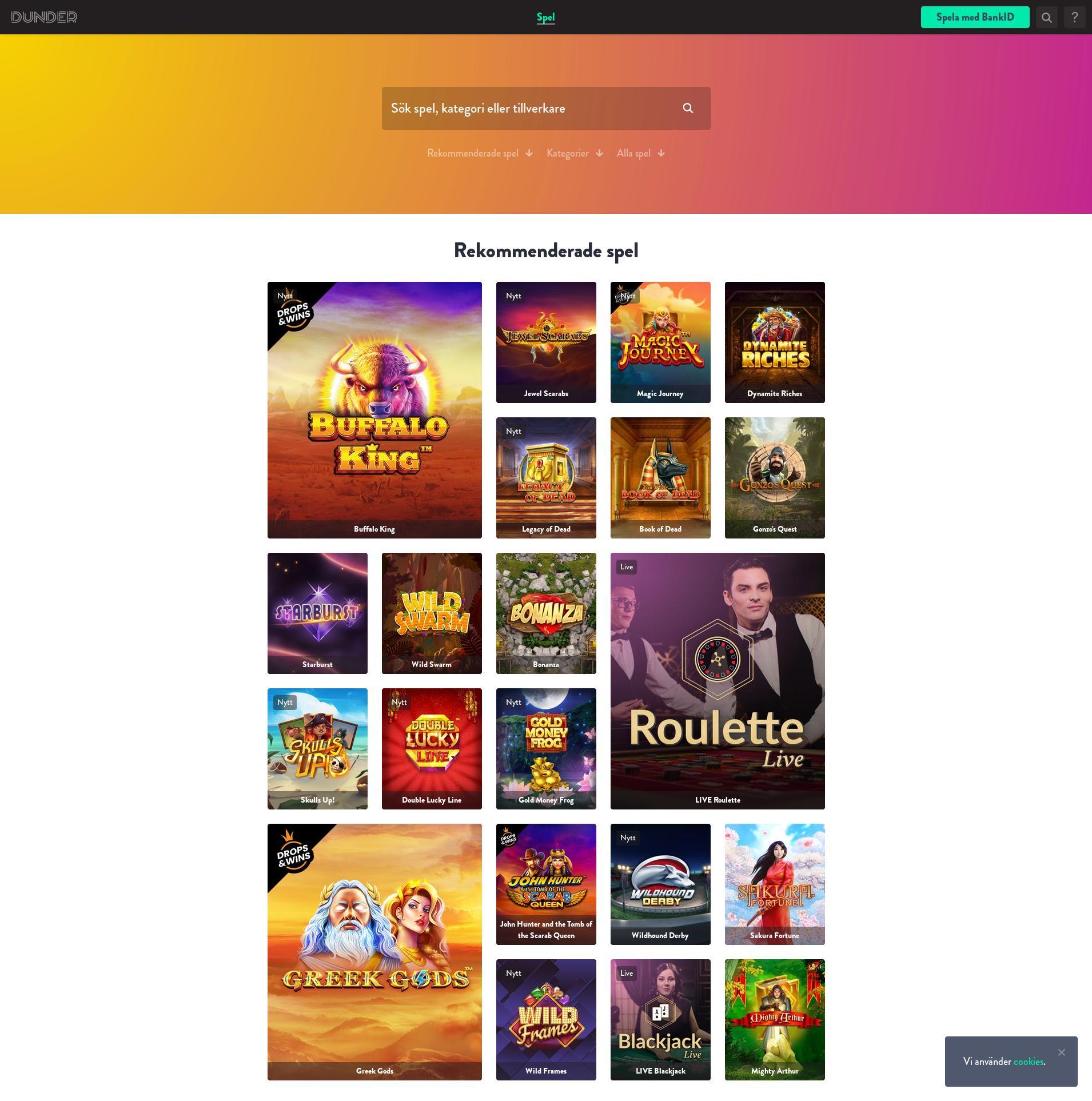 Casino skärm Lobby 2020-01-19 för Sverige