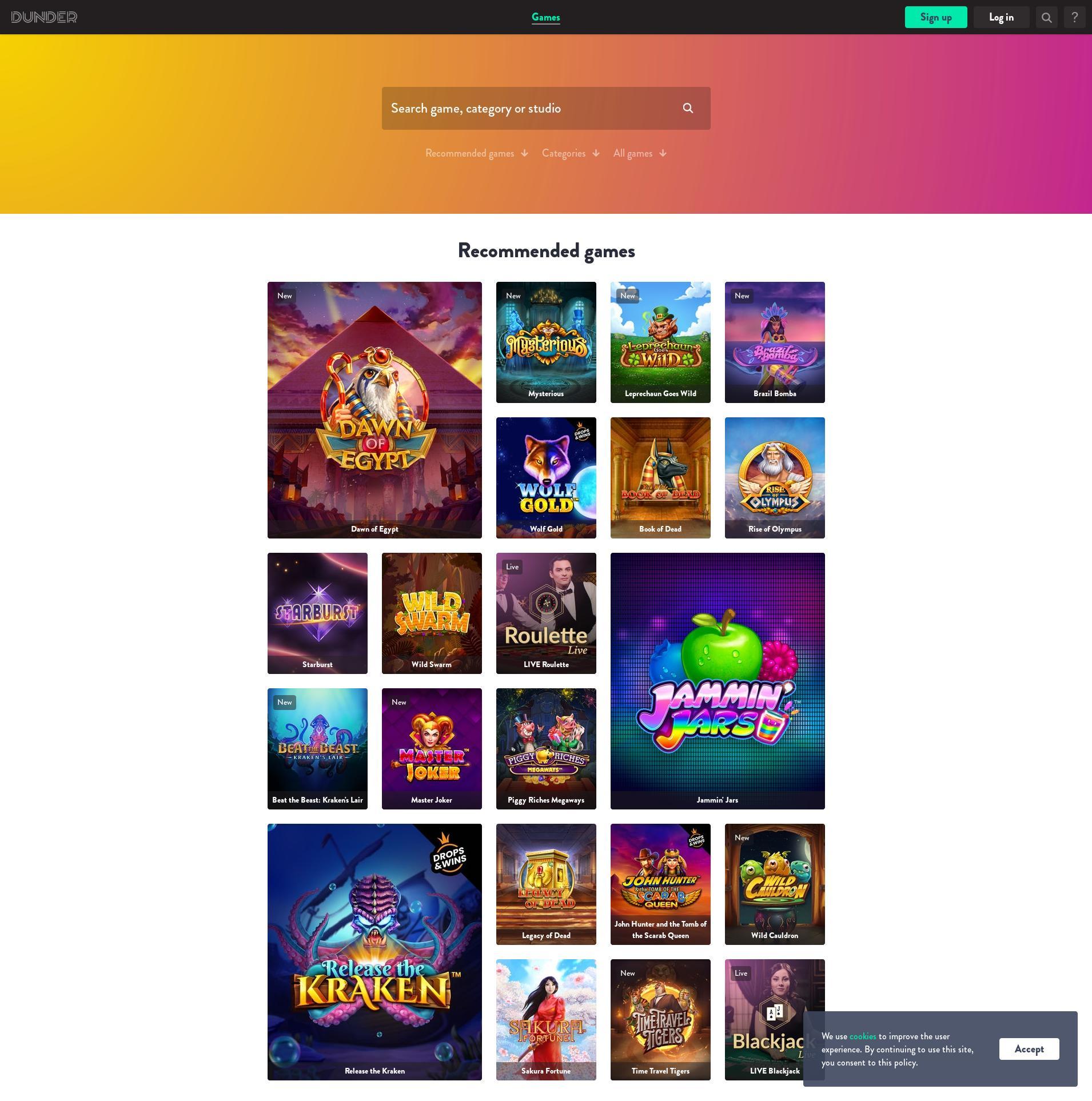 Casino scherm Lobby 2020-02-21 voor Nederland