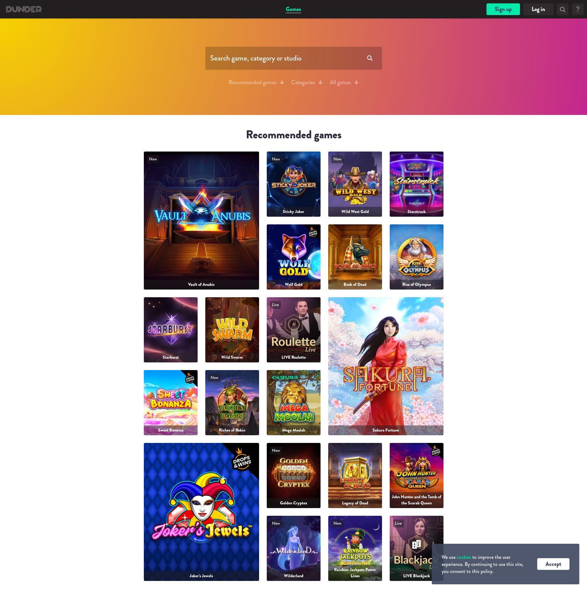 Casino scherm Lobby 2020-03-27 voor Nederland