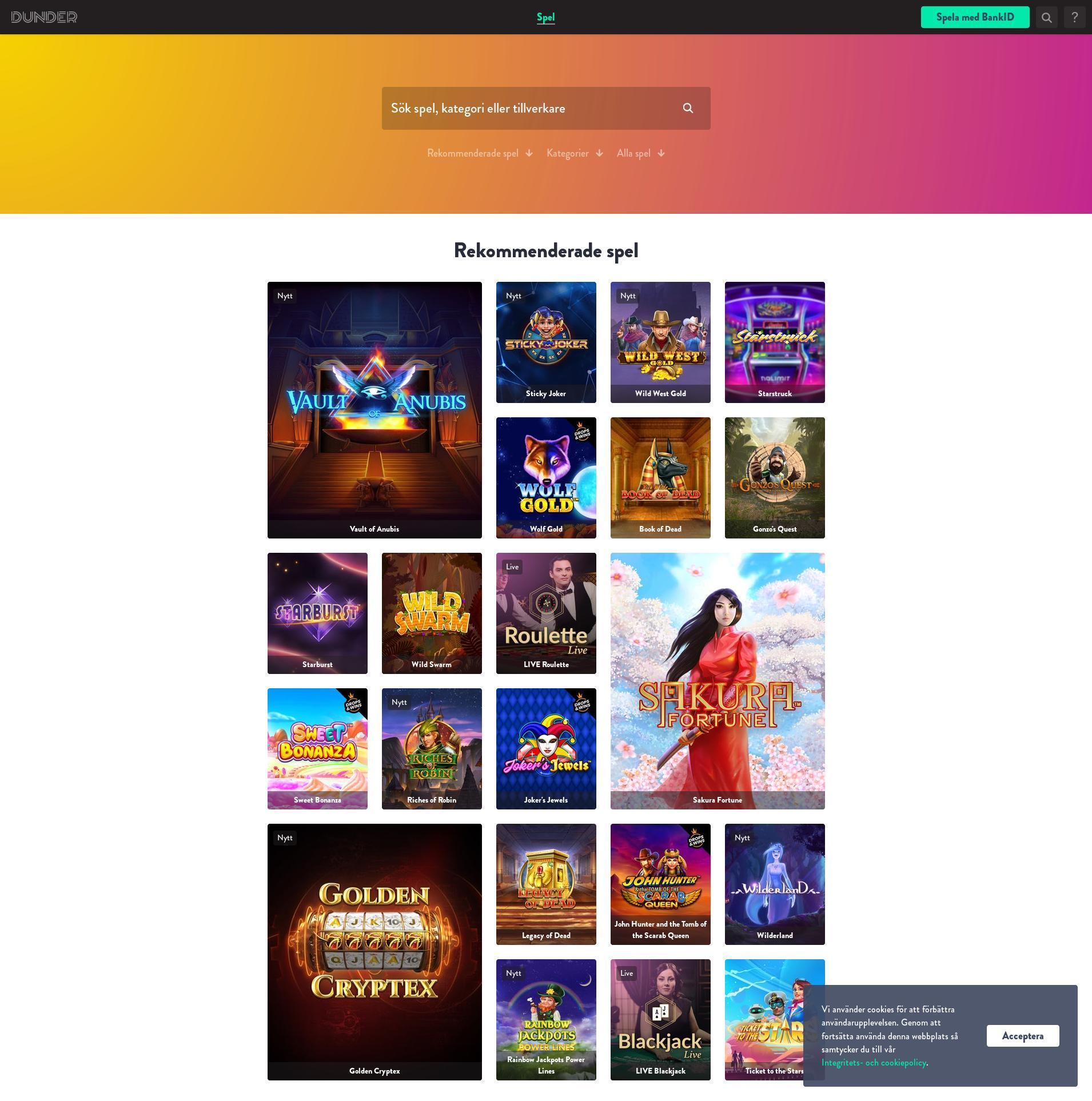 Casino skärm Lobby 2020-03-27 för Sverige