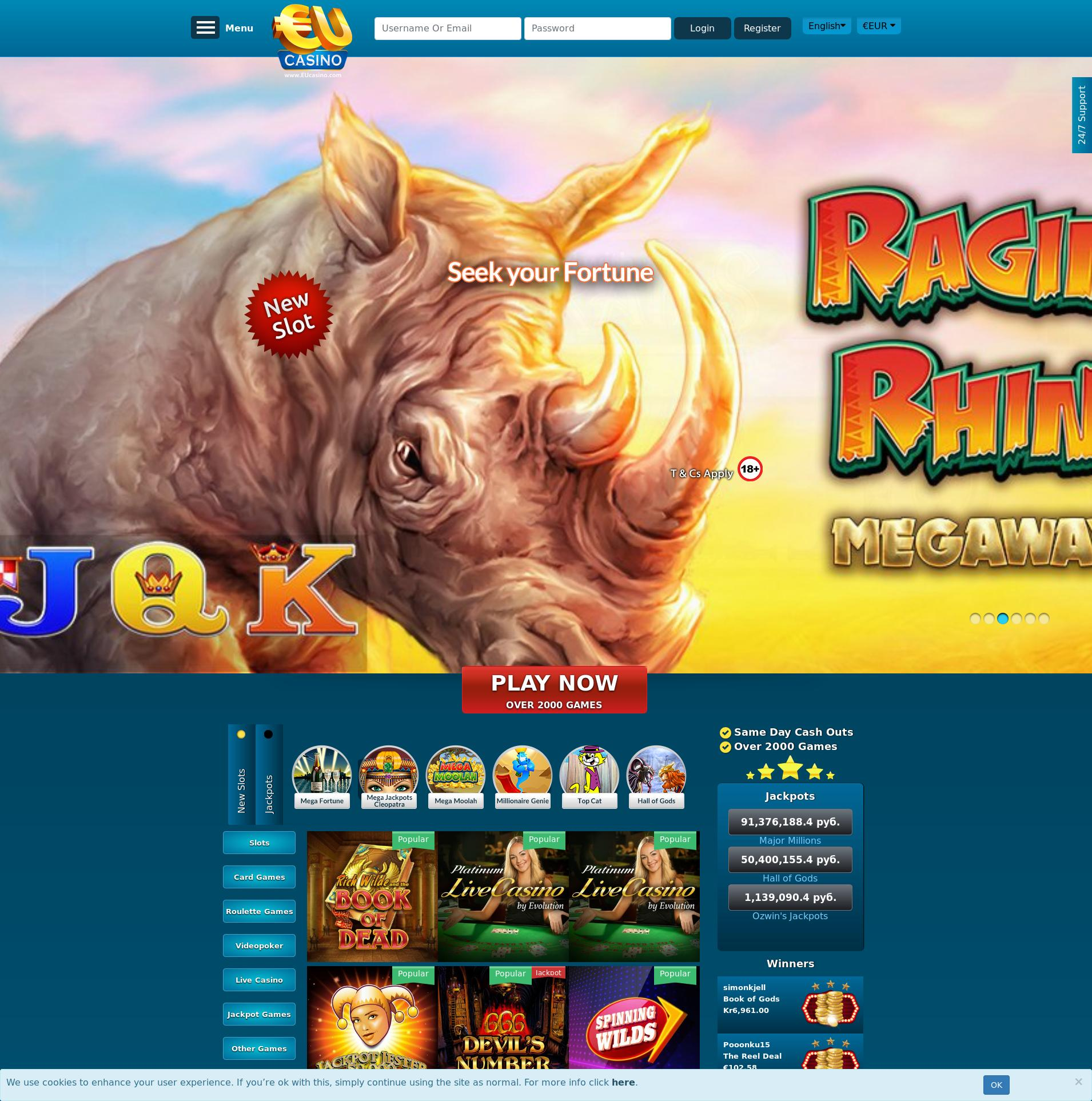 Casino screen Lobby 2019-07-15 for Russian Federation