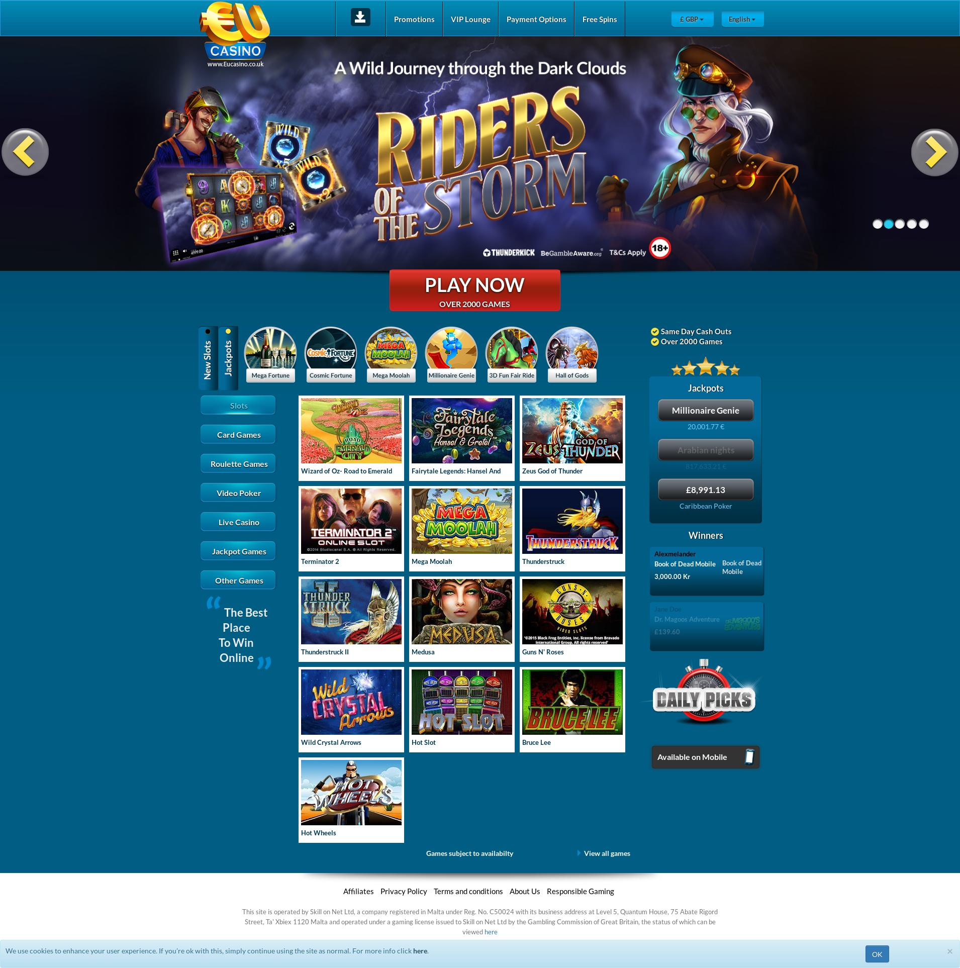 Casino screen Lobby 2019-09-19 for United Kingdom