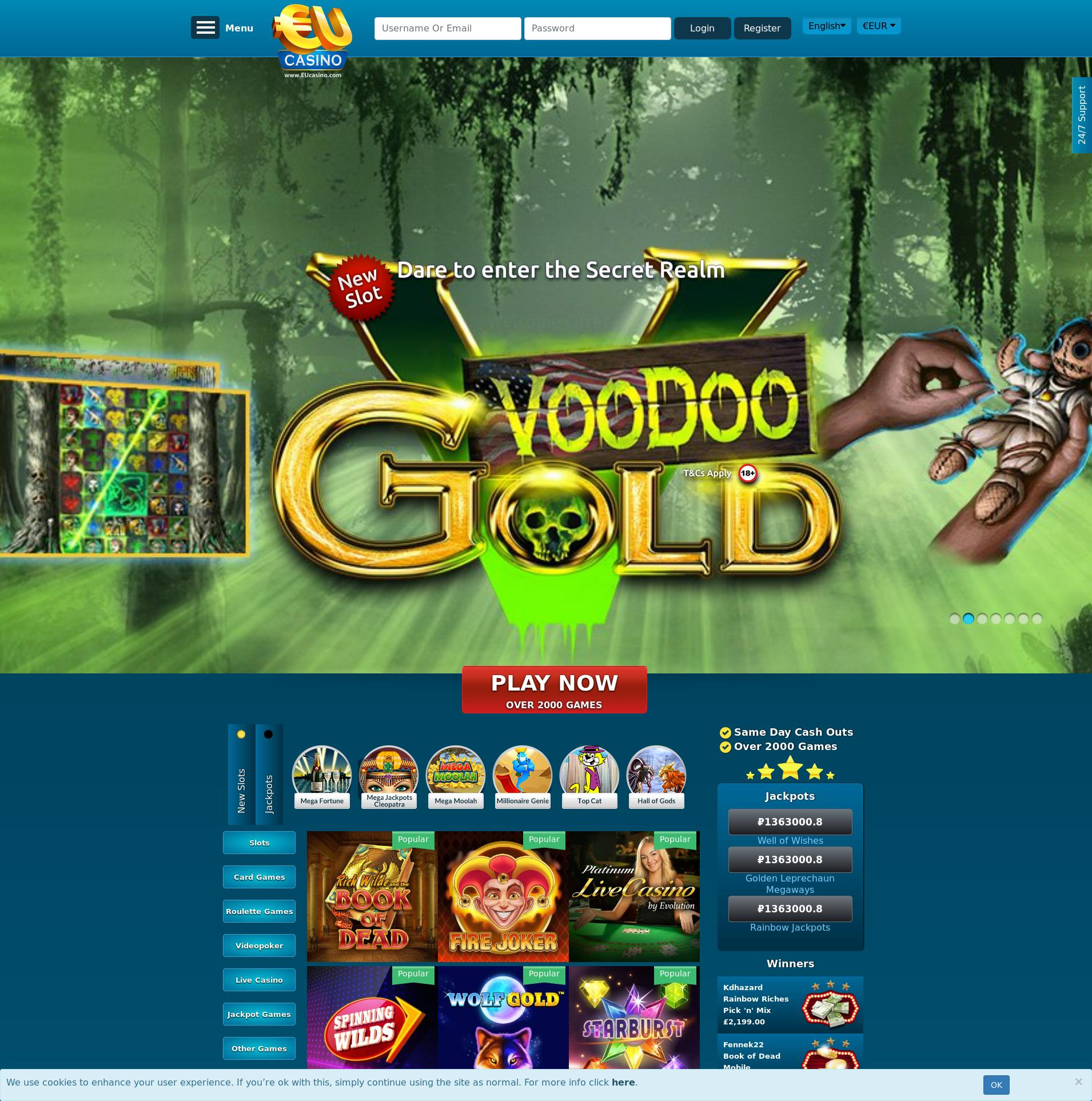 Casino screen Lobby 2019-10-20 for Russian Federation