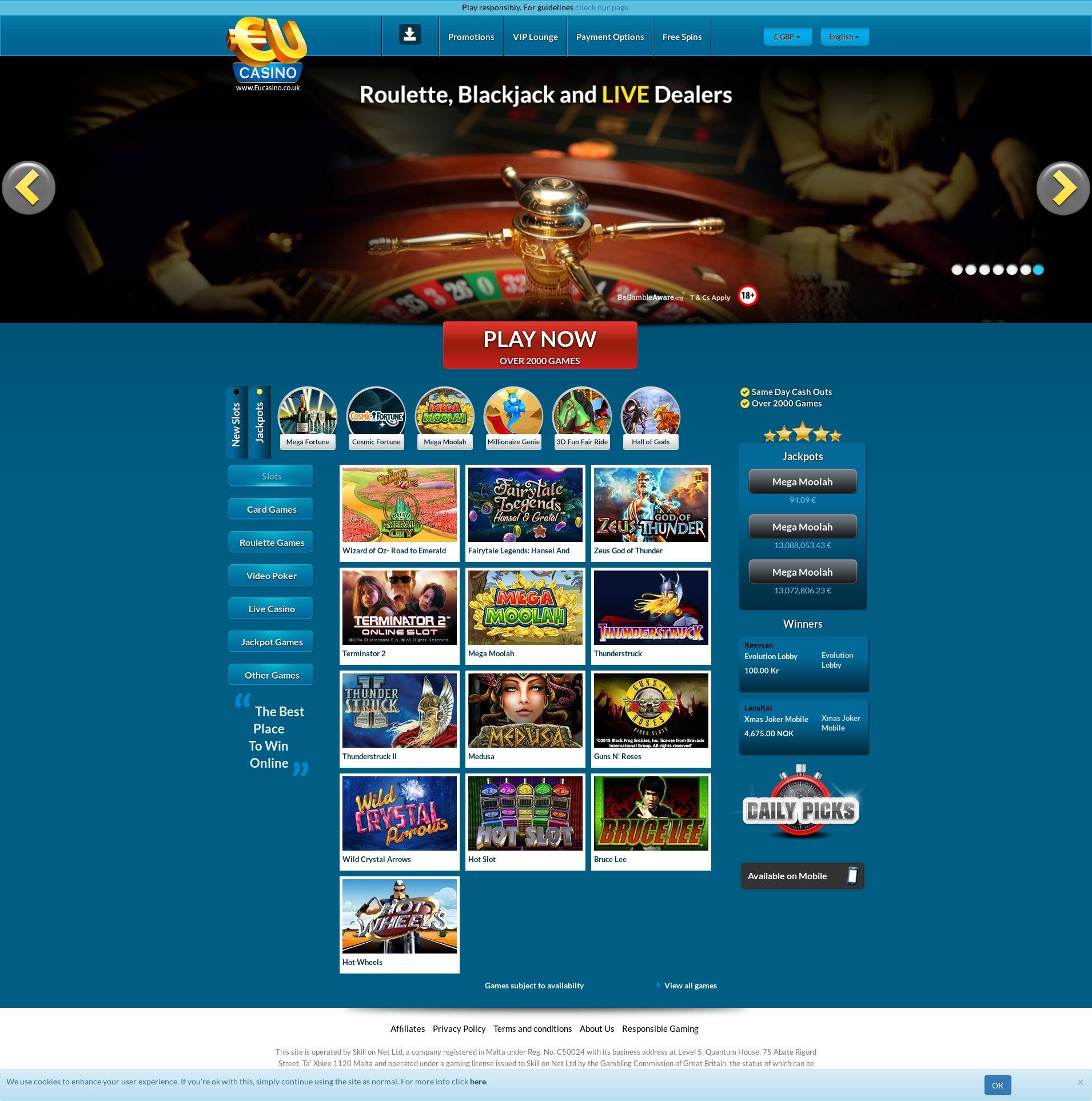 Casino skärm Lobby 2020-05-28 för Storbritannien