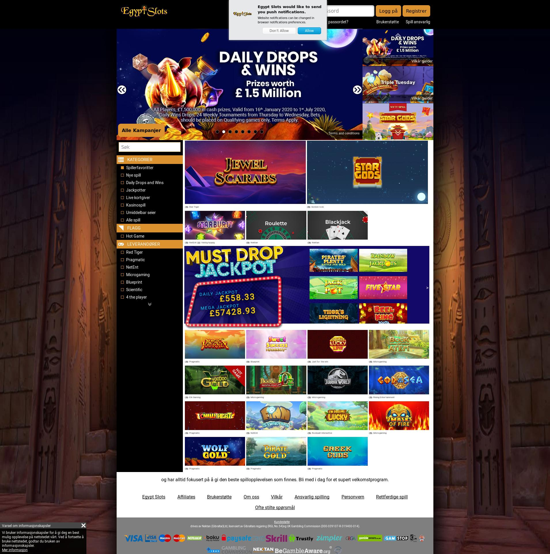 Casino screen Lobby 2020-01-21 for Norway