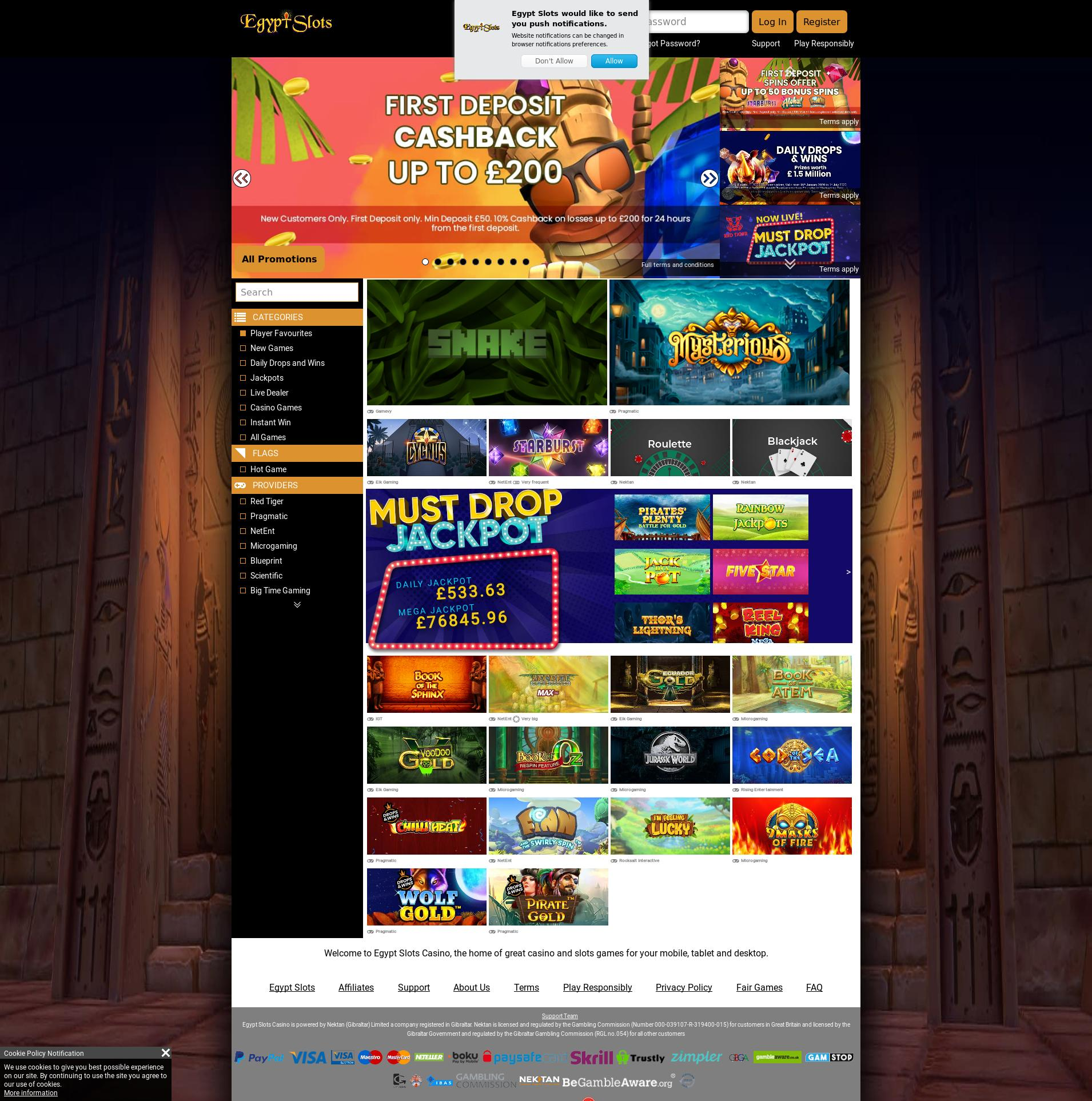 Casino screen Lobby 2020-02-25 for United Kingdom