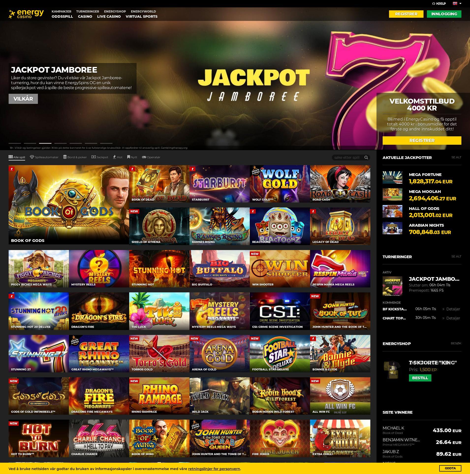 Casino skjerm Lobby 2020-06-01 til Storbritannia