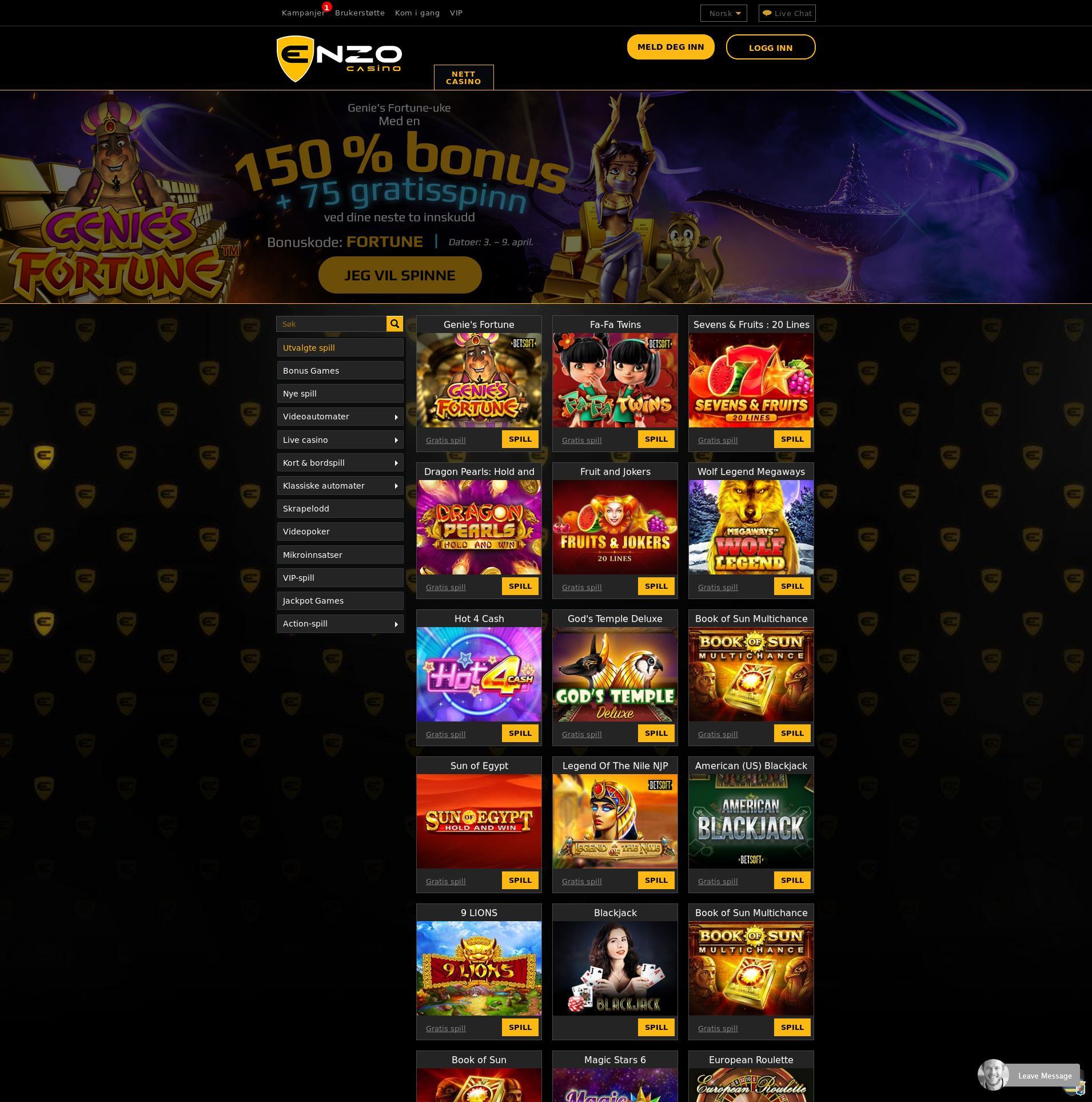 Casino skjerm Lobby 2020-04-07 til Norge