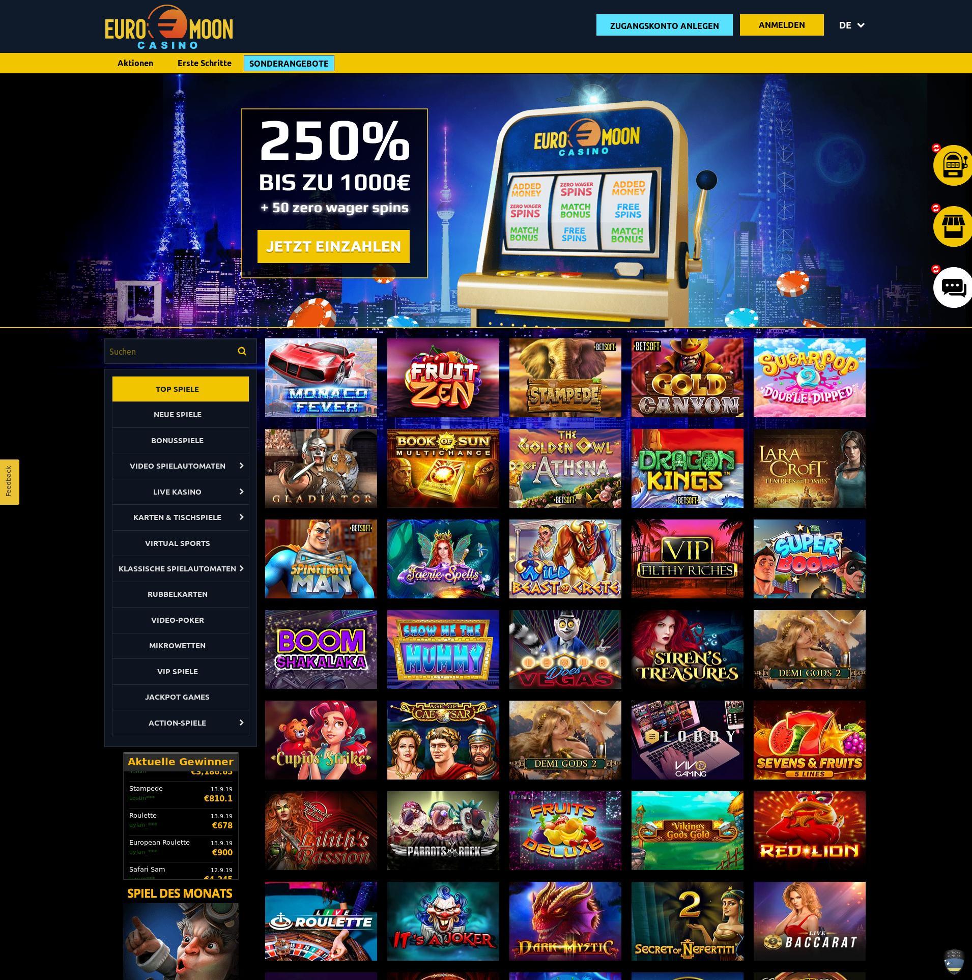 Casino skärm Lobby 2019-09-16 för Tyskland
