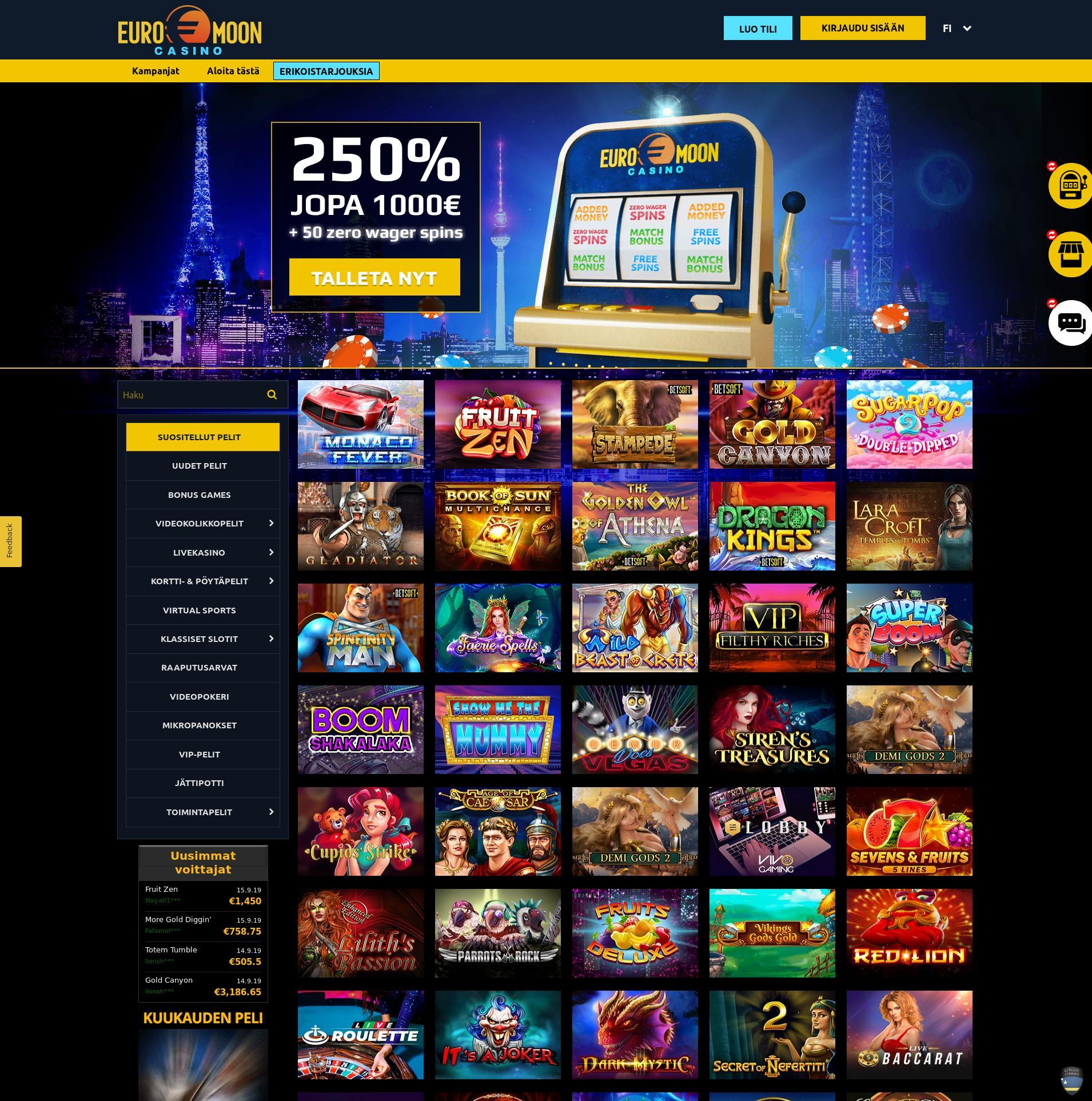 Casino-näyttö Lobby 2019-09-16 varten Suomi