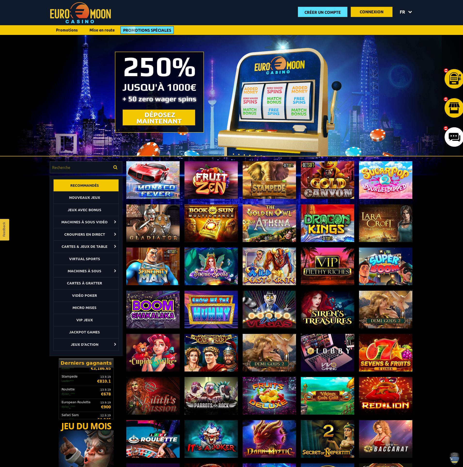 Casino skärm Lobby 2019-09-16 för frankrike