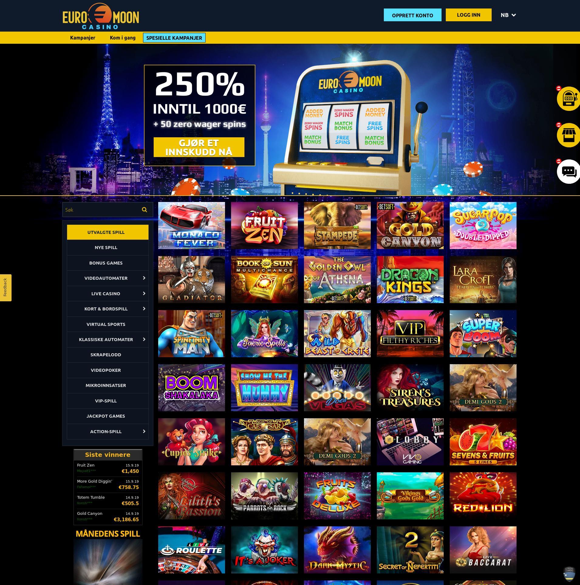 Casino skjerm Lobby 2019-09-16 til Norge