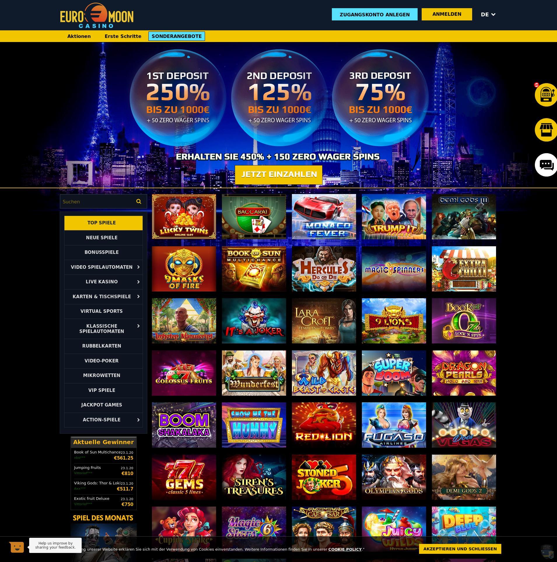 Casino skärm Lobby 2020-01-24 för Tyskland