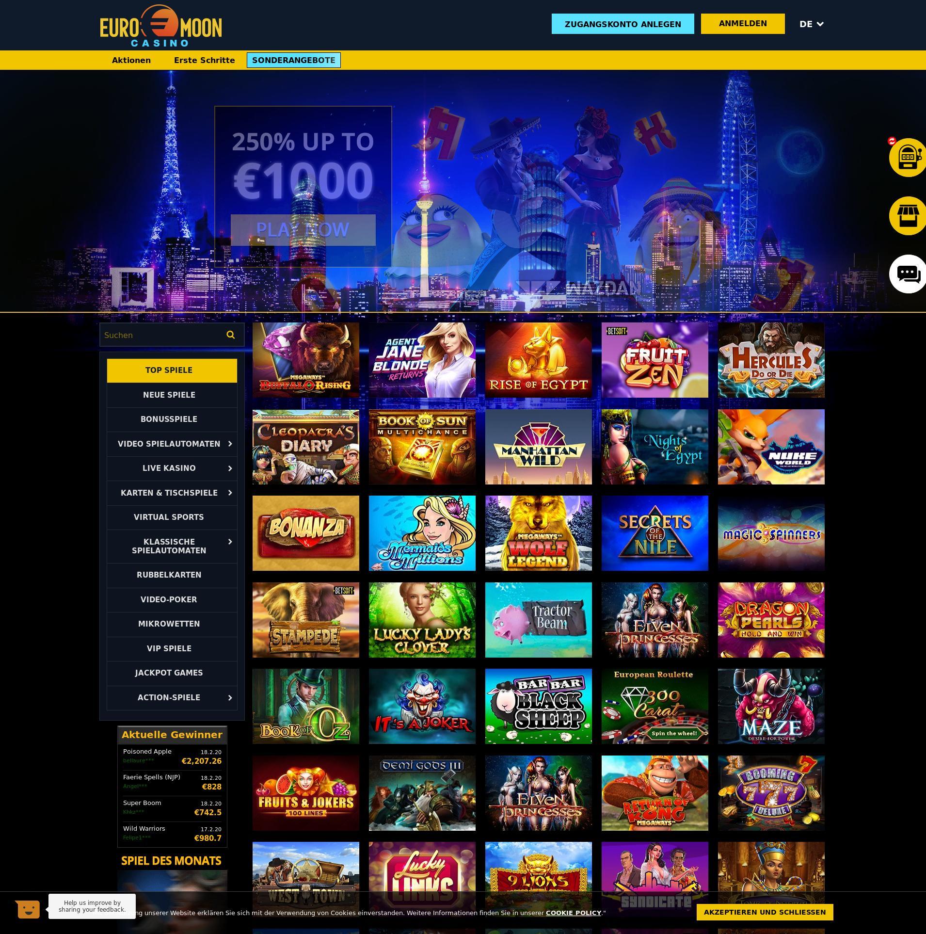 Kaszinó képernyő Lobby 2020-02-22 mert Németország