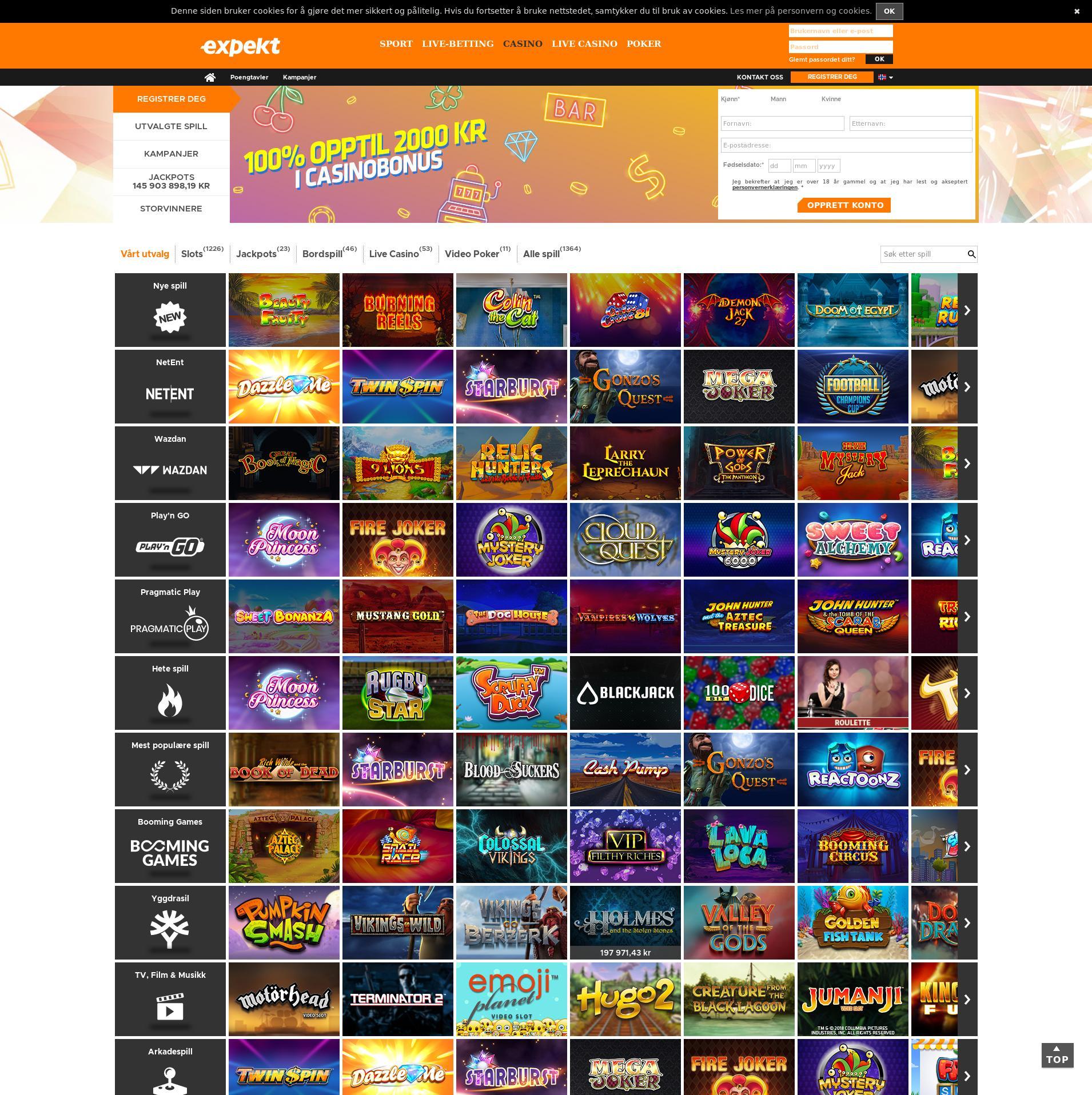 Casino skjerm Lobby 2019-11-10 til Norge