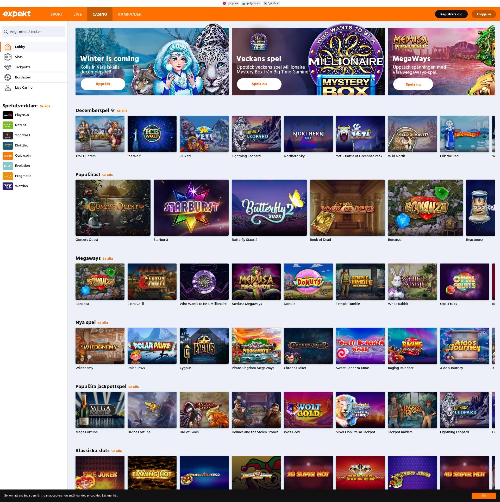 Casino skärm Lobby 2019-12-04 för Sverige