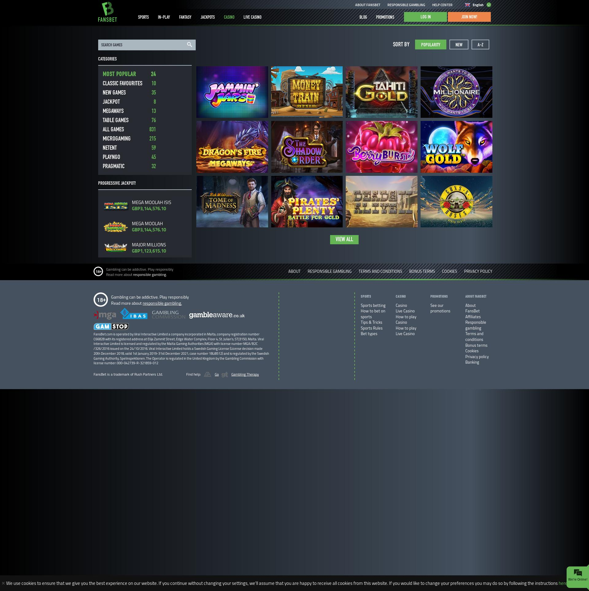 Casino screen Lobby 2019-12-13 for United Kingdom